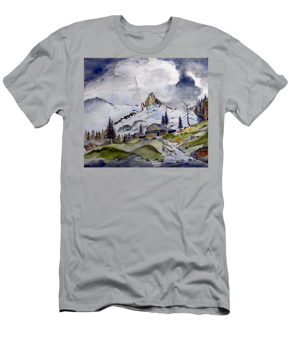 Cabin Men's T-Shirt (Athletic Fit) featuring the painting Tigers Tooth Peak by Jimmy Smith