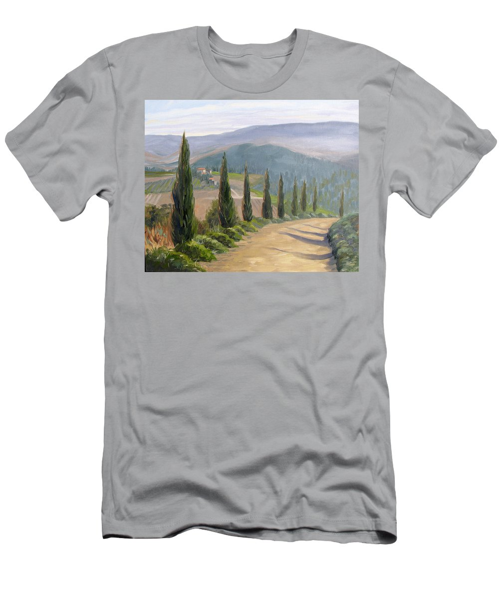 Landscape Men's T-Shirt (Athletic Fit) featuring the painting Tuscany Road by Jay Johnson