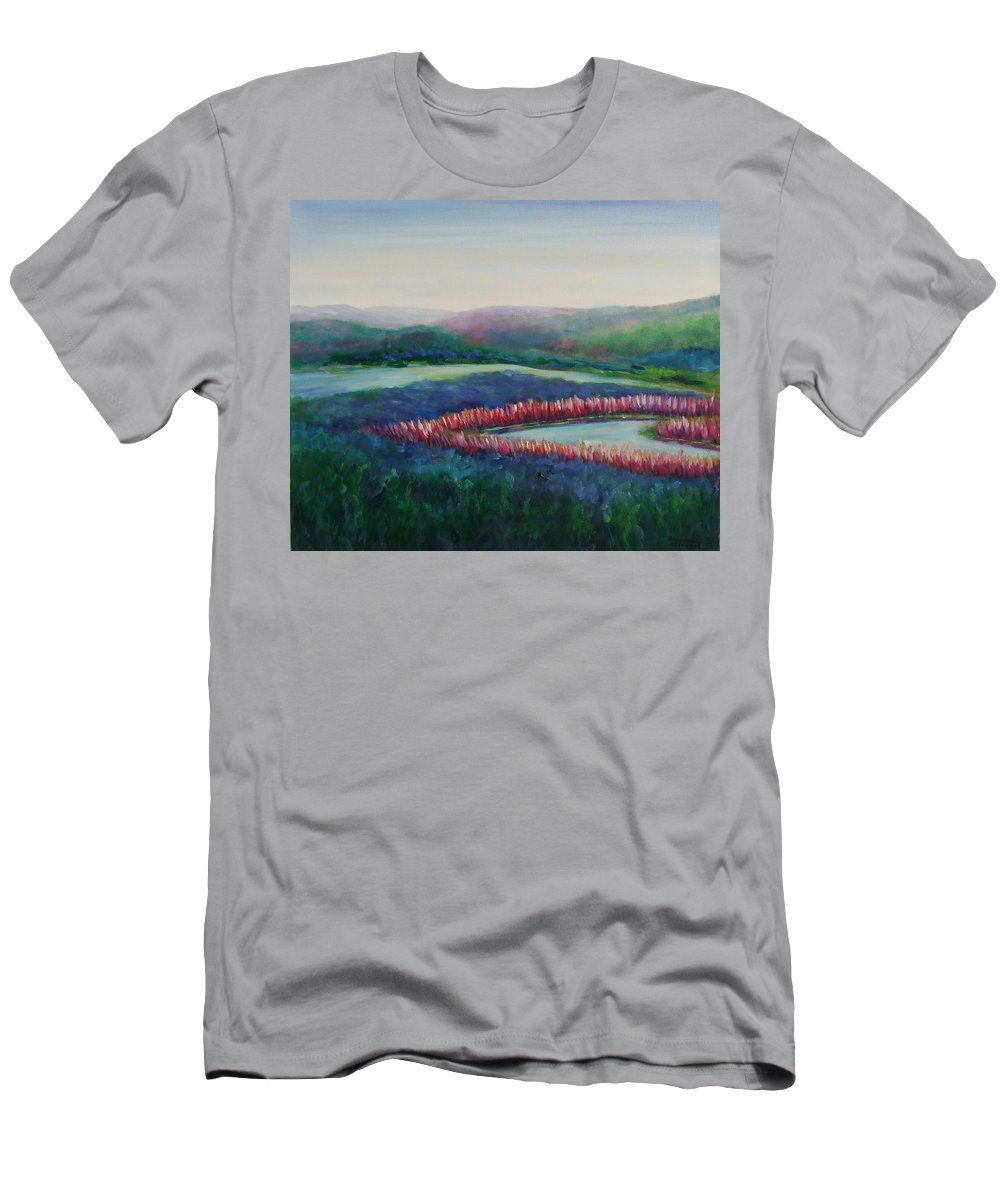 Landscape T-Shirt featuring the painting Tweet Stream by Shannon Grissom