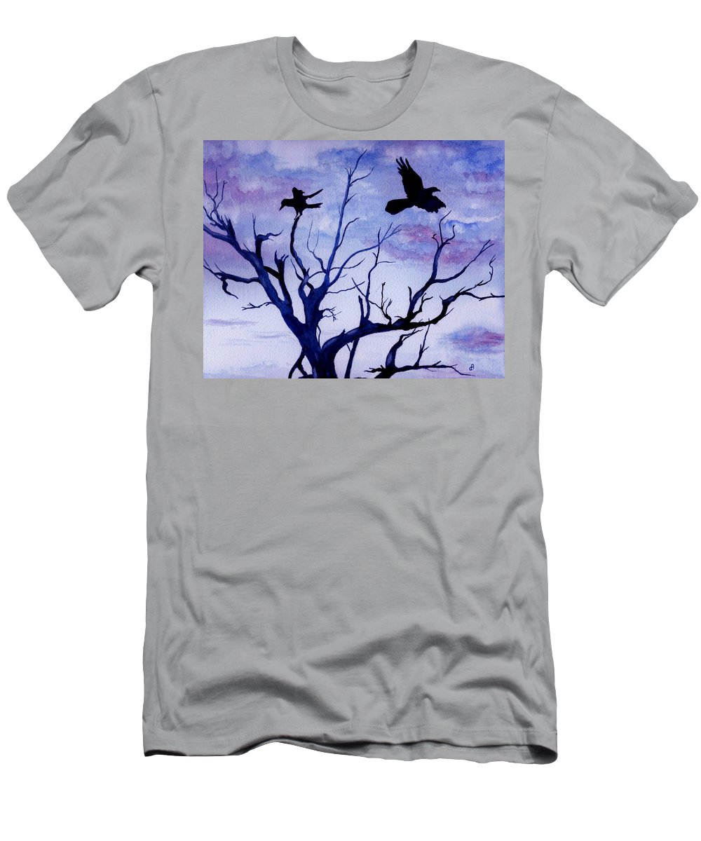 Watercolor Landscape Birds Raven Crow Flight Tree Sunset Sky Blue Clouds Scenic Men's T-Shirt (Athletic Fit) featuring the painting Twilight Flight by Brenda Owen