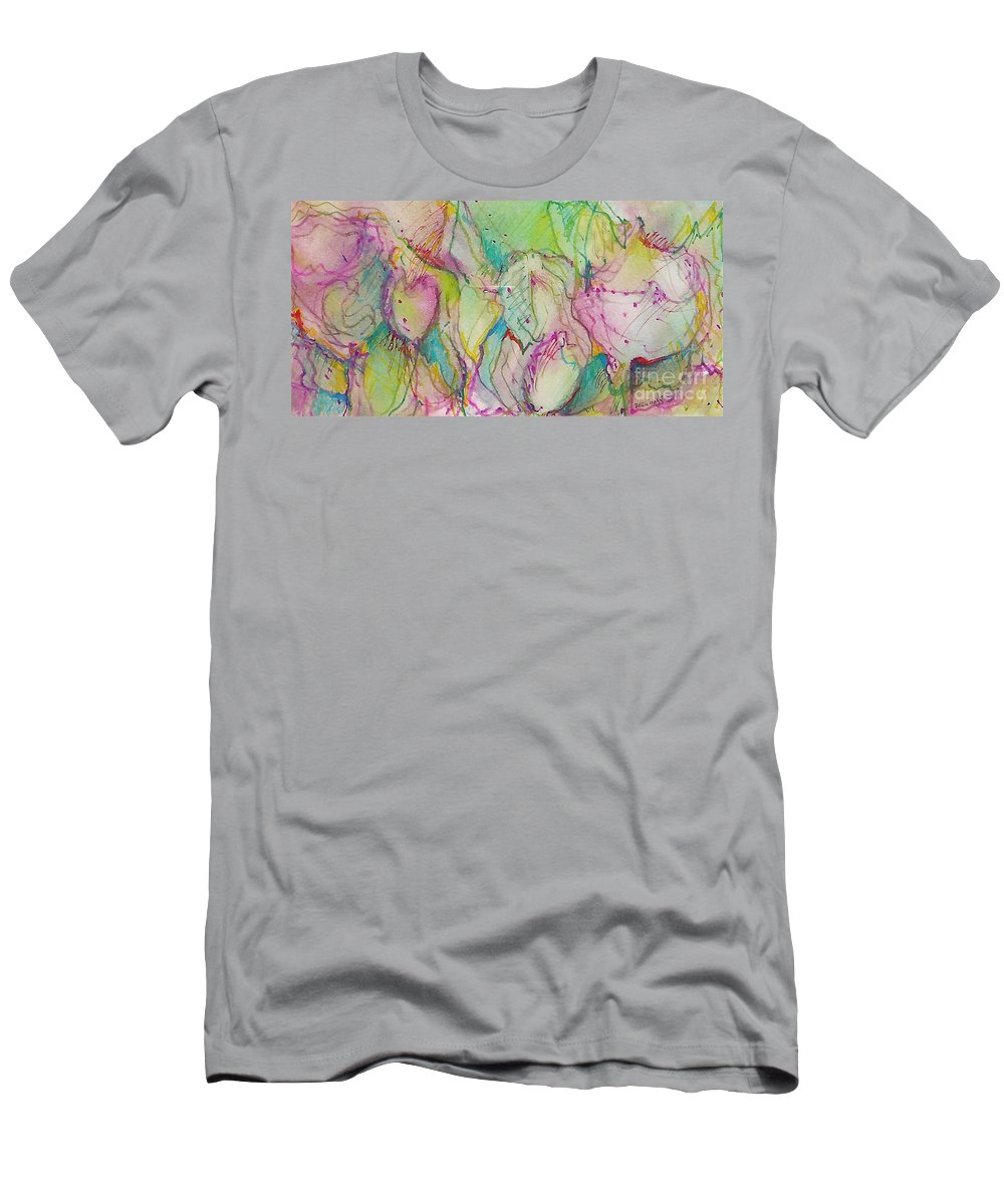 Abstract Men's T-Shirt (Athletic Fit) featuring the painting Two Lips by Jan Bennicoff