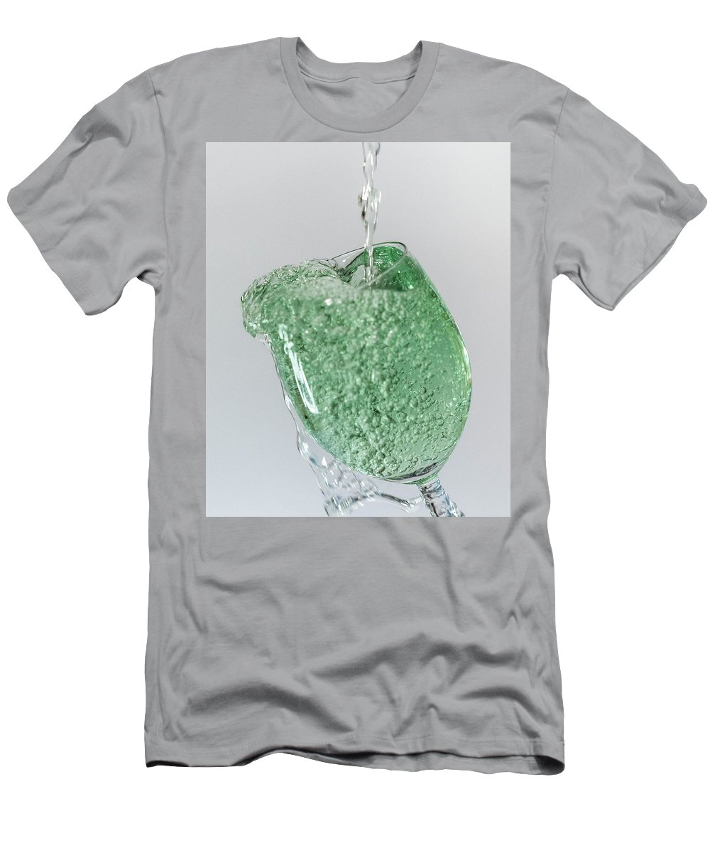 Water Men's T-Shirt (Athletic Fit) featuring the photograph Water Splashing In A Wine Glass by Trond Kristensen