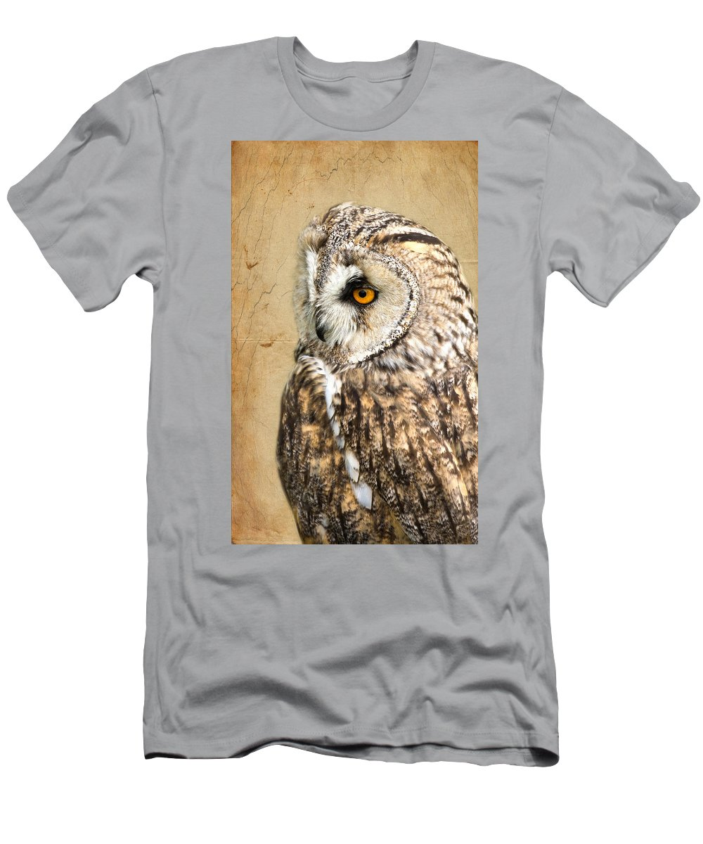 Owl Men's T-Shirt (Athletic Fit) featuring the photograph Wise Owl by Scott Carruthers