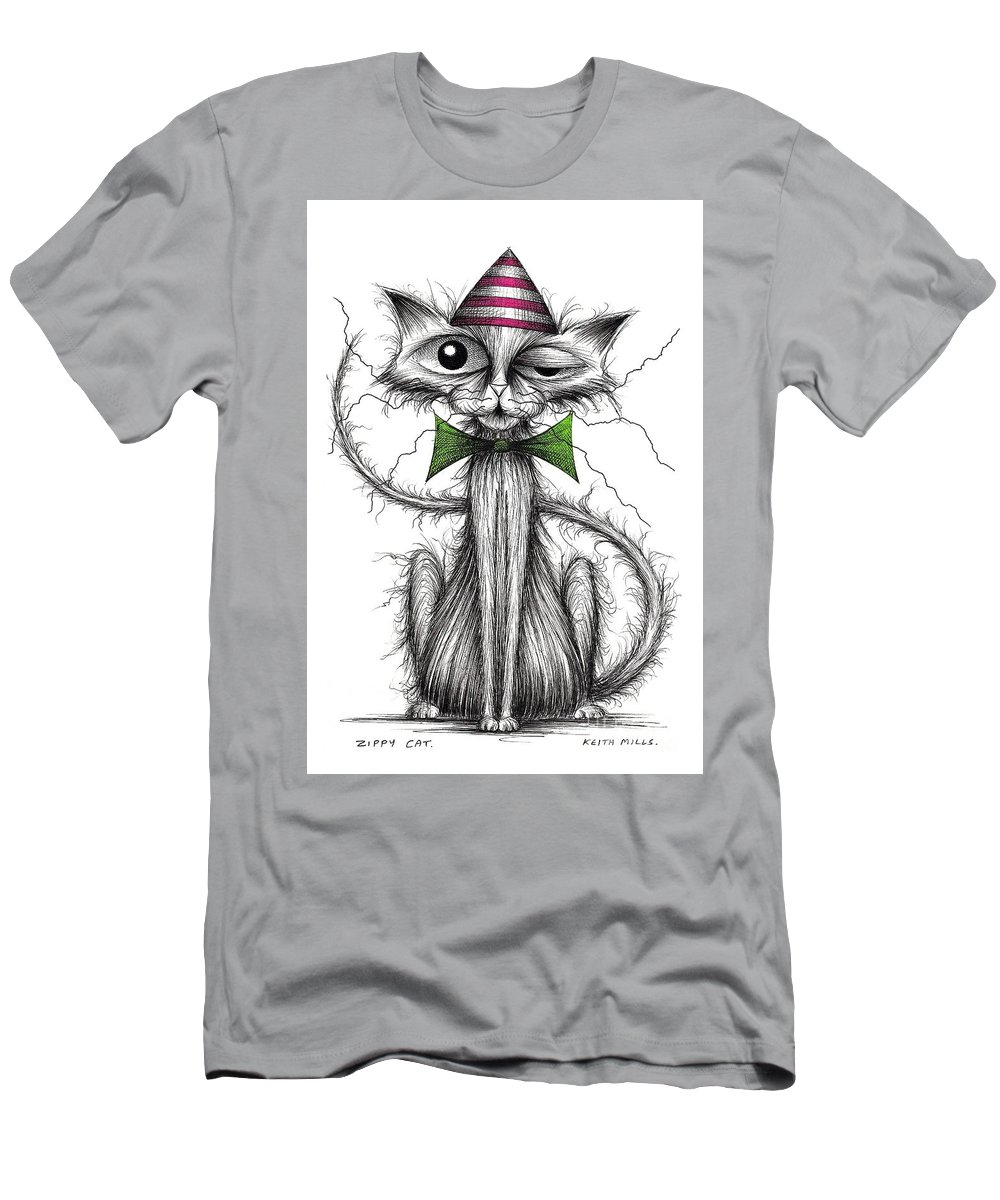 Cat Men's T-Shirt (Athletic Fit) featuring the drawing Zippy Cat by Keith Mills