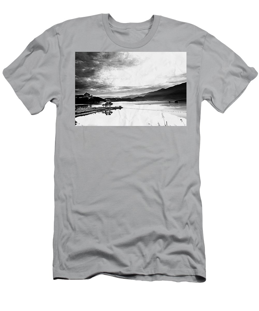 Lake Men's T-Shirt (Athletic Fit) featuring the digital art Lake by Lora Battle