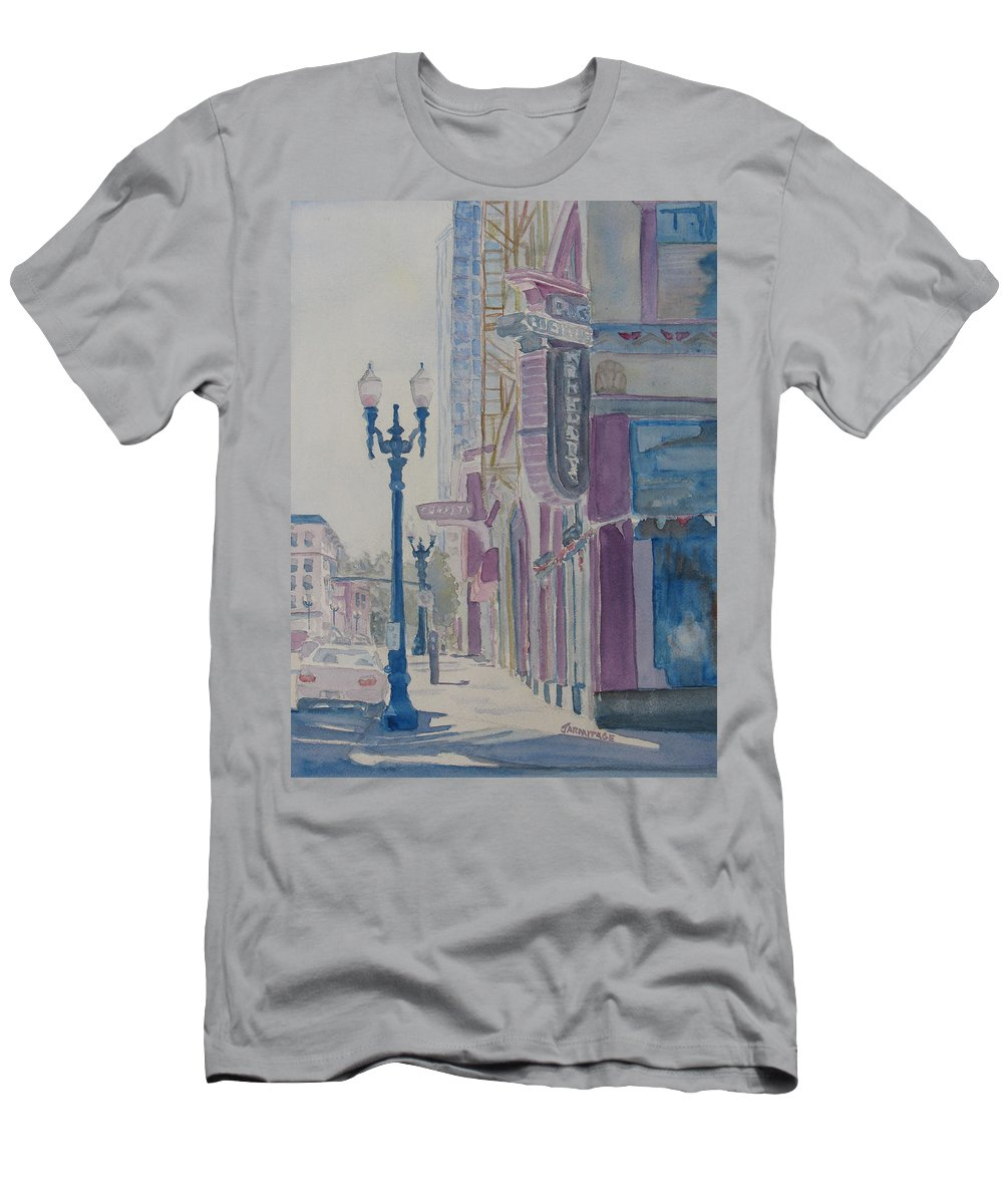 Landscape Men's T-Shirt (Athletic Fit) featuring the painting 10th And Washington Or The Carpet Seller by Jenny Armitage