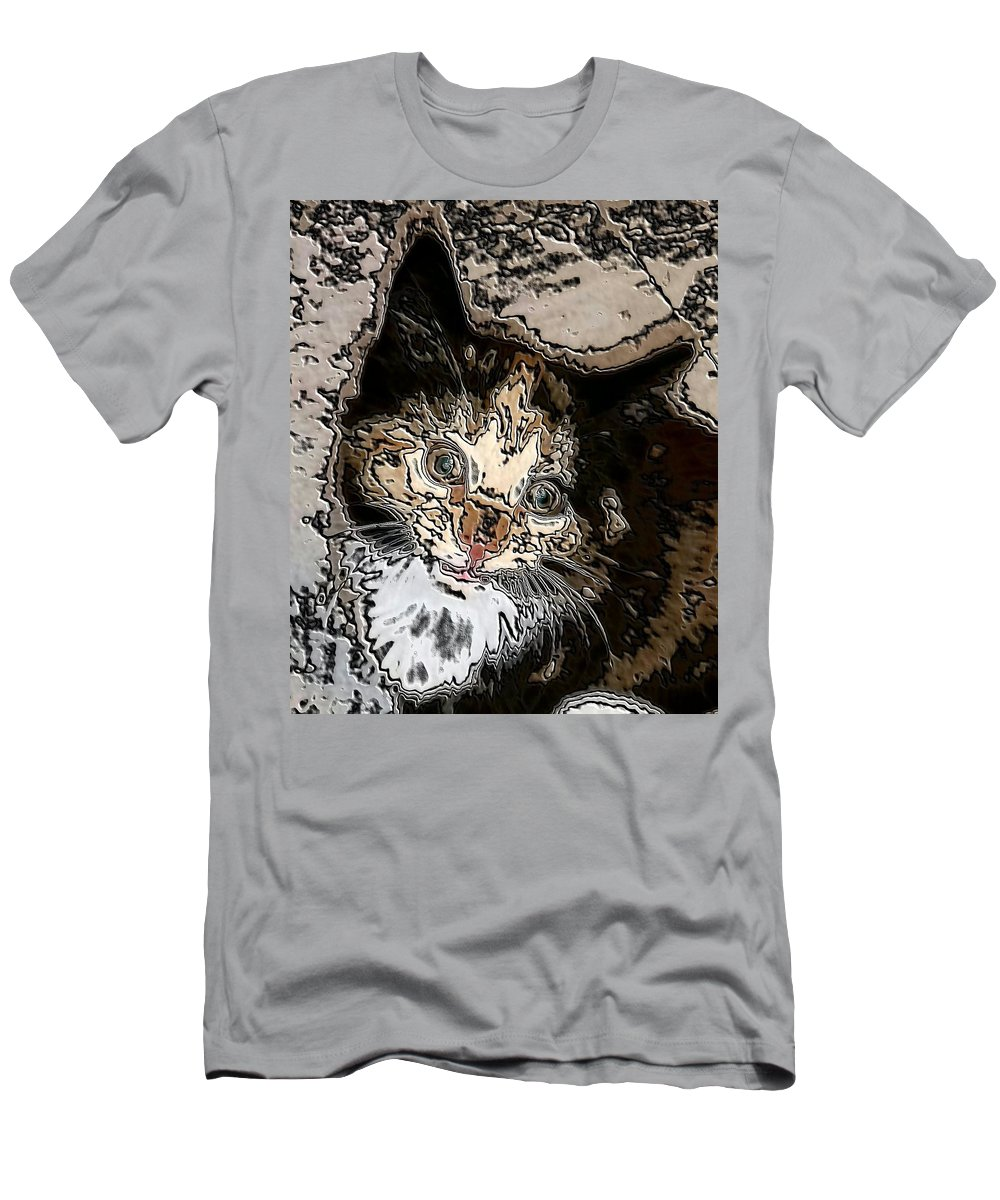 Digital Art Men's T-Shirt (Athletic Fit) featuring the digital art Abstract Cat by Belinda Cox