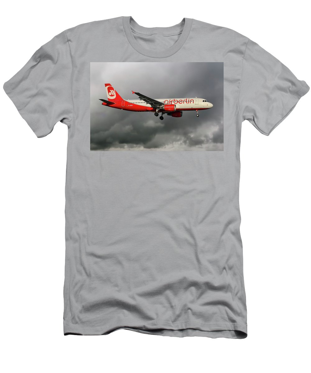 Air Berlin Men's T-Shirt (Athletic Fit) featuring the photograph Air Berlin Airbus A320-214 by Smart Aviation