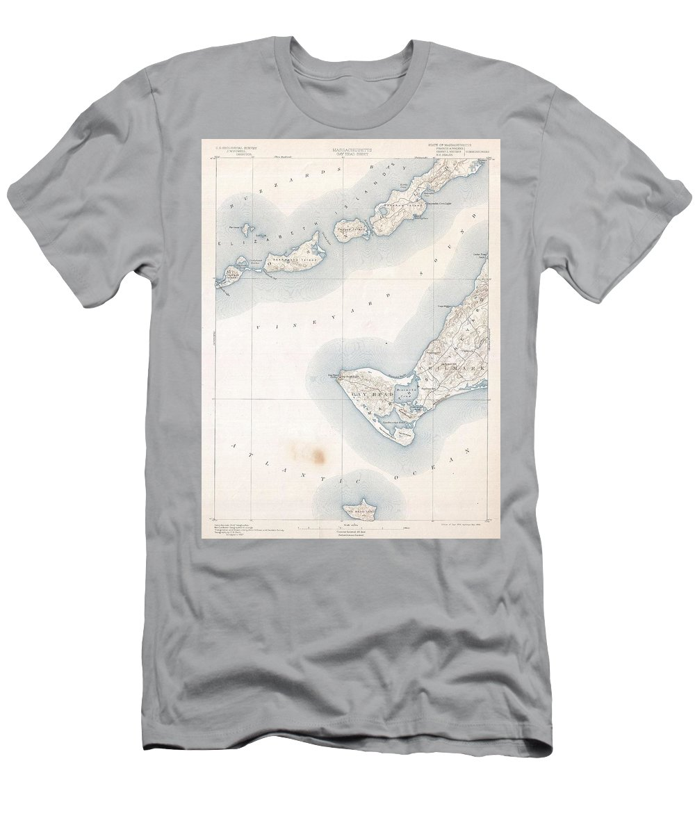 1898 U.s. Geological Survey Map Of Gay Head Men's T-Shirt (Athletic Fit) featuring the photograph 1898 Us Geological Survey Map Of Gay Head Marthas Vineyard Massachusetts by Paul Fearn