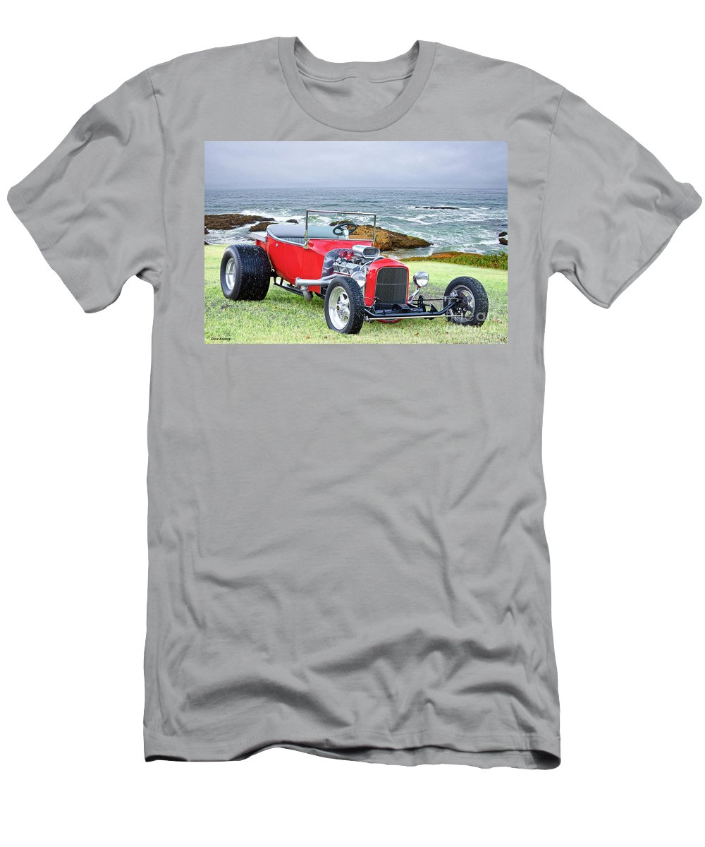 Automobile Men's T-Shirt (Athletic Fit) featuring the photograph 1927 Ford T Bucket Roadster 'on The Greens' by Dave Koontz