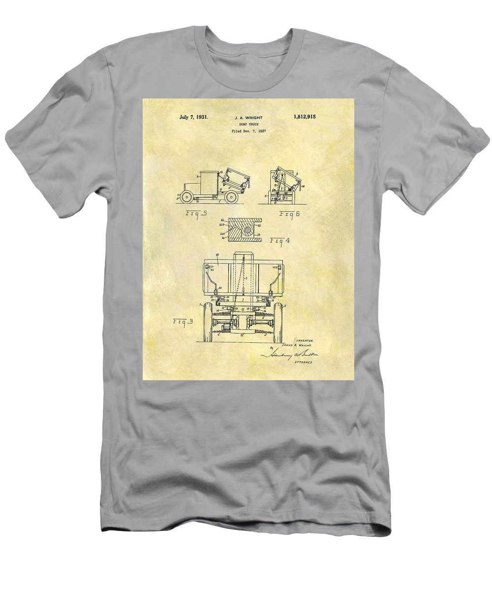 1931 Dump Truck Patent Men's T-Shirt (Athletic Fit) featuring the drawing 1931 Dump Truck Patent by Dan Sproul