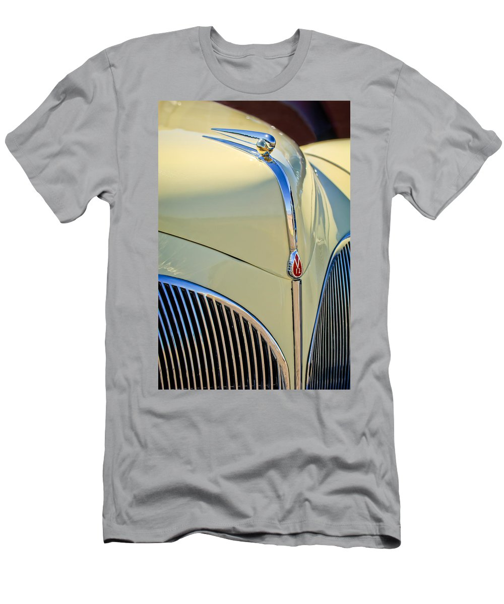 1941 Lincoln Continental Cabriolet V12 Men's T-Shirt (Athletic Fit) featuring the photograph 1941 Lincoln Continental Cabriolet V12 Grille by Jill Reger