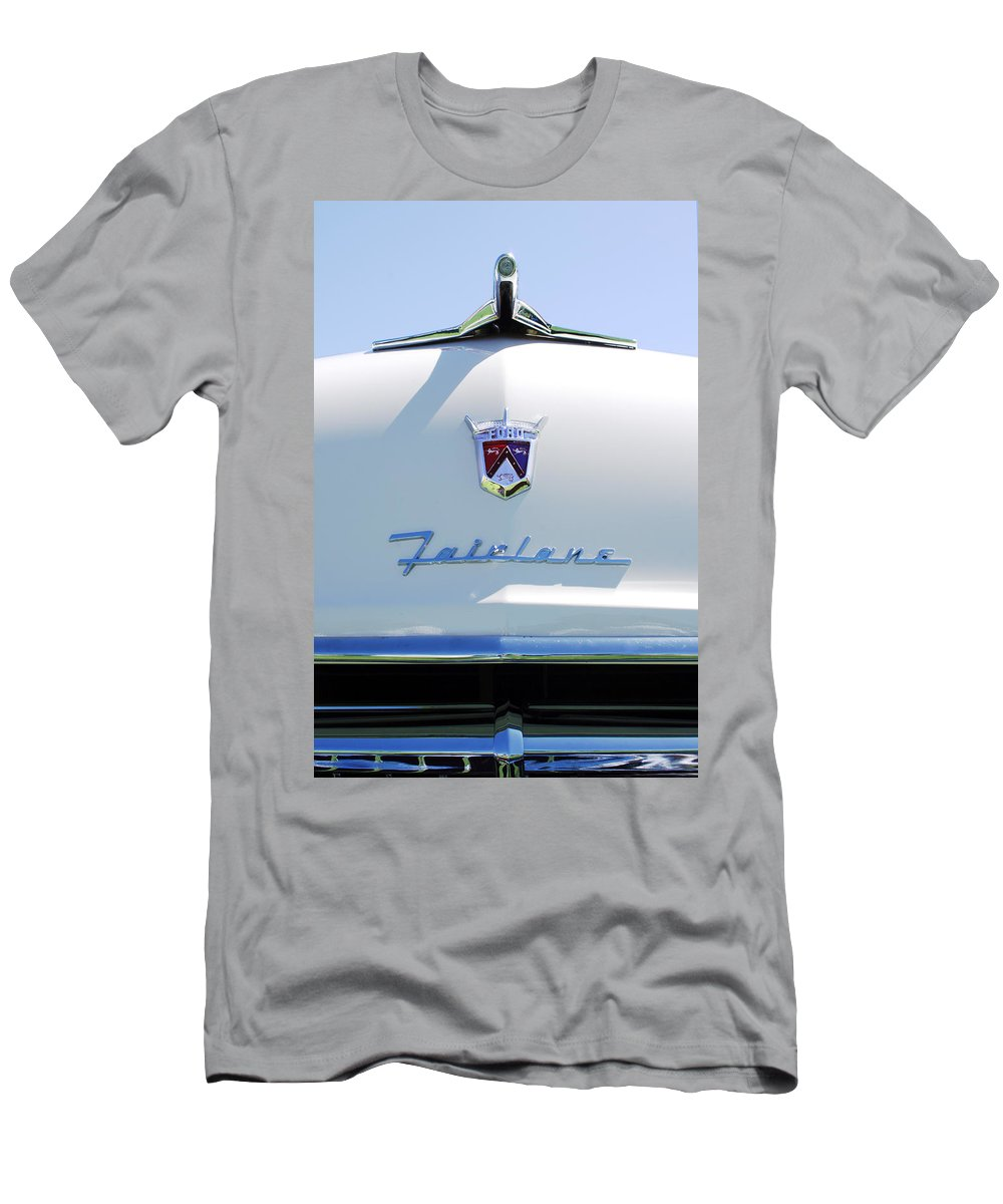Car Men's T-Shirt (Athletic Fit) featuring the photograph 1955 Ford Fairland Hood Ornament by Jill Reger