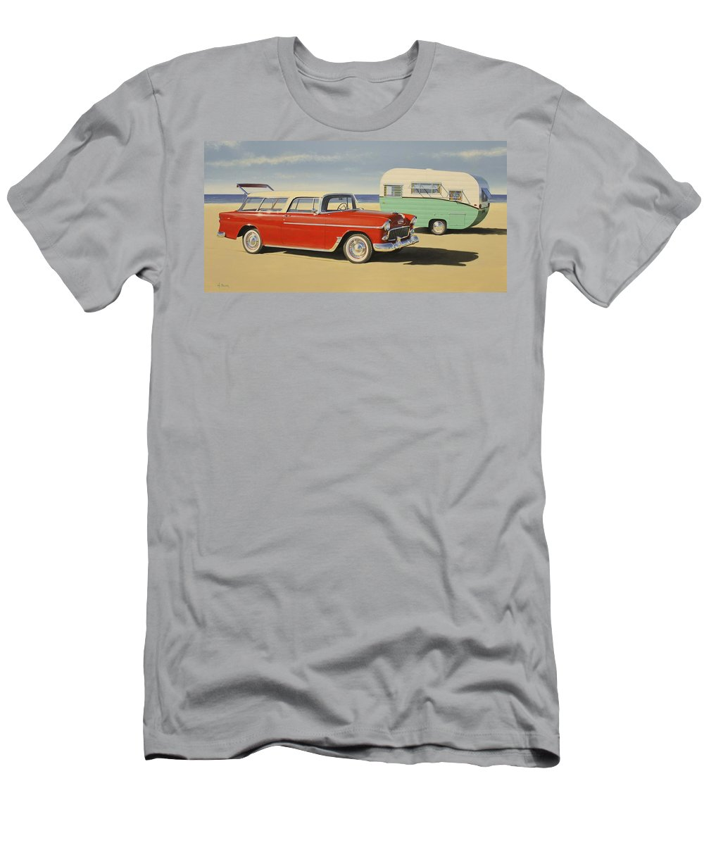 Chevy Men's T-Shirt (Athletic Fit) featuring the painting 1955 Nomad by Henry Balzer