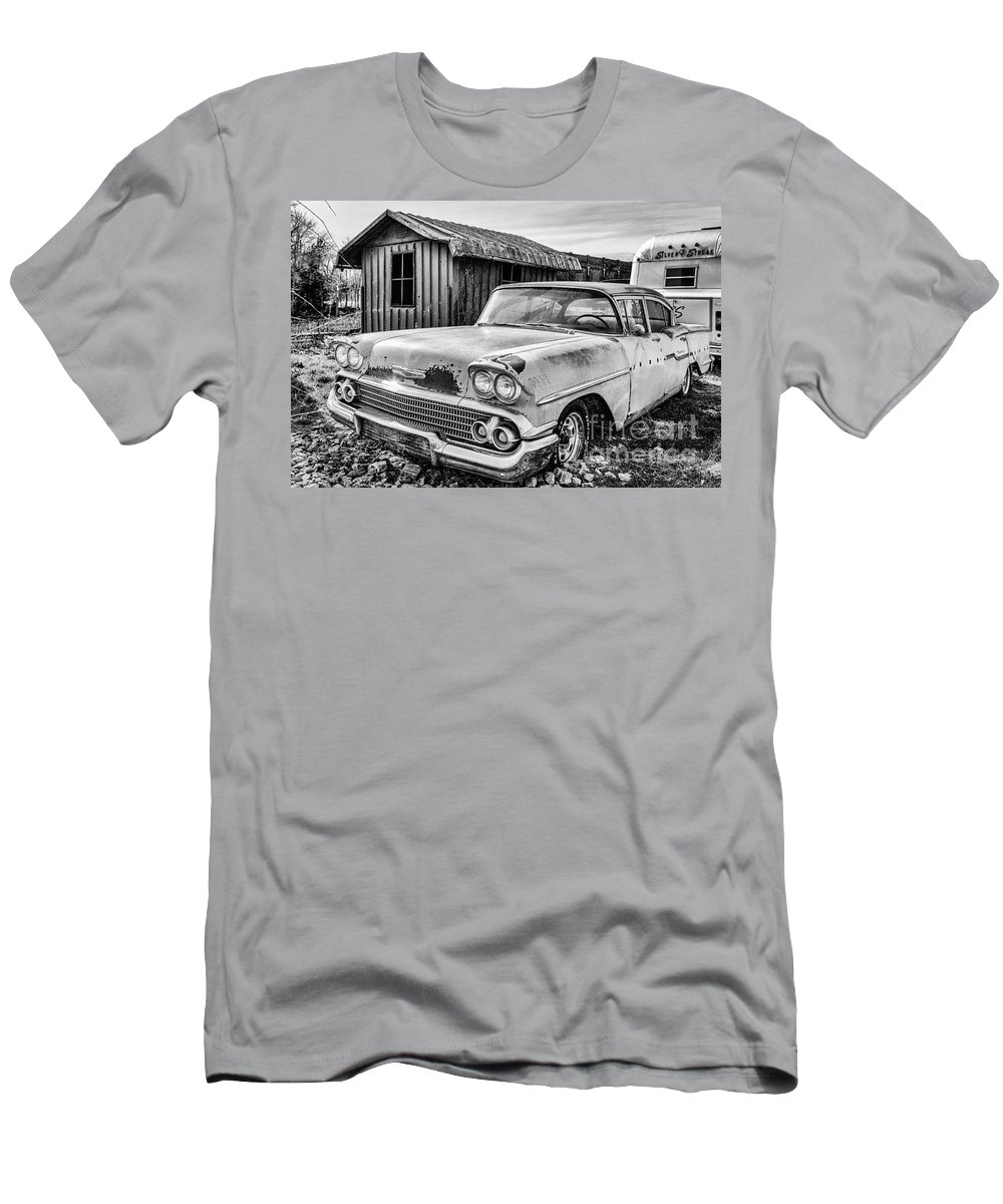 Old Car Men's T-Shirt (Athletic Fit) featuring the photograph 1958 Chevy Del Ray In Black And White by Terri Morris