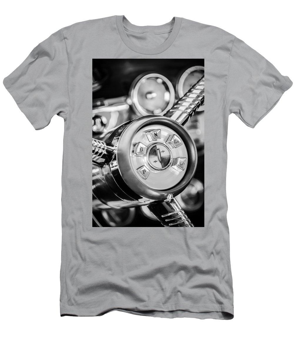 1958 Edsel Ranger Men's T-Shirt (Athletic Fit) featuring the photograph 1958 Edsel Ranger Push Button Transmission 2 by Jill Reger