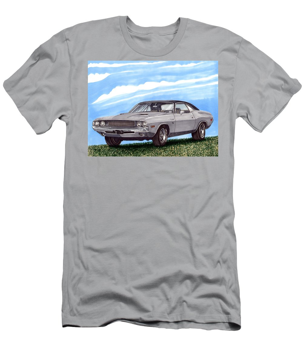 1970 Dodge Challenger. Great Muscle Cars Of The Seventies Men's T-Shirt (Athletic Fit) featuring the painting 1970 Dodge Challenger by Jack Pumphrey