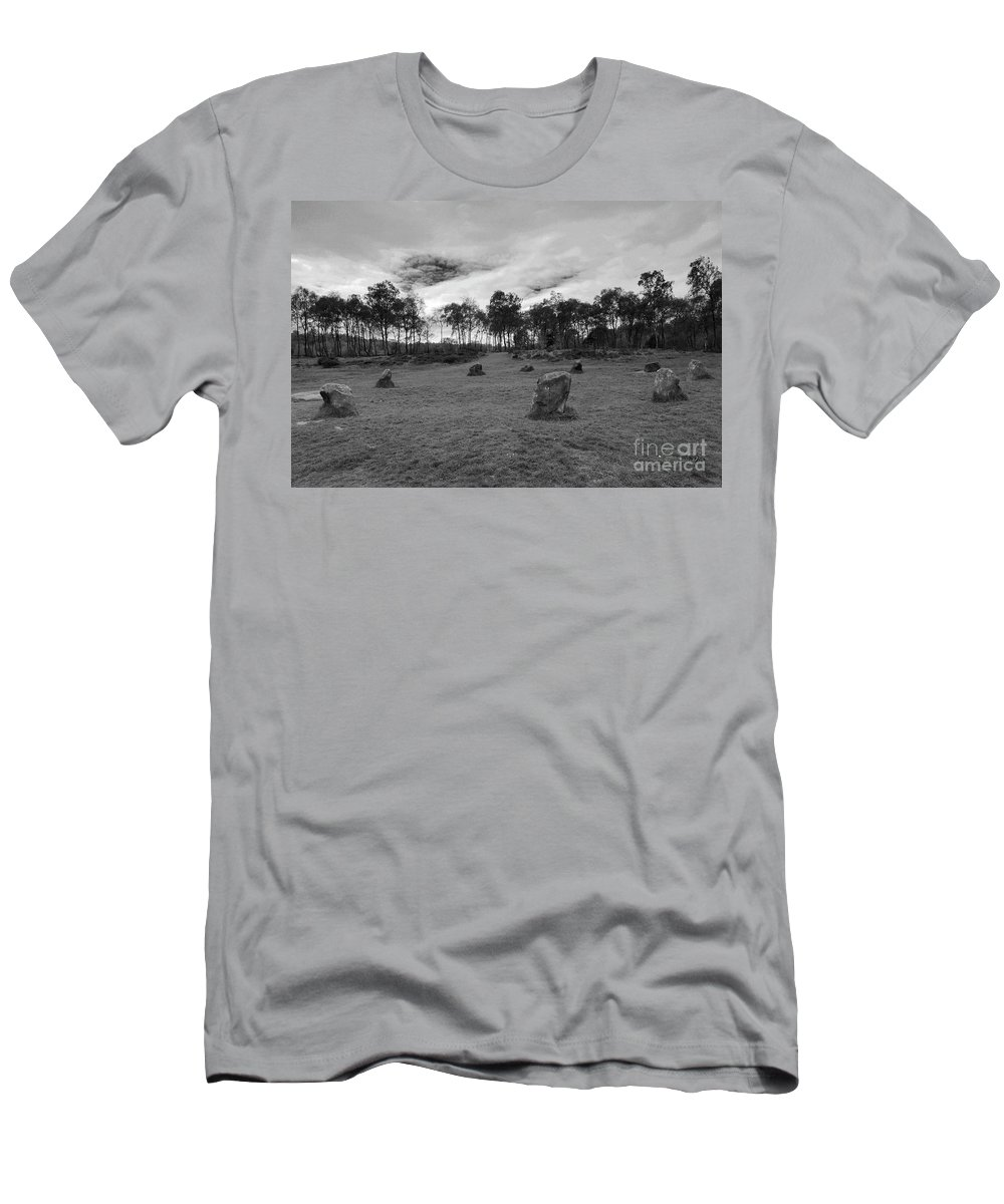 9 Ladies Stone Circle Men's T-Shirt (Athletic Fit) featuring the photograph 9 Ladies Stone Circle, Stanton Moor, Peak District National Park by Dave Porter