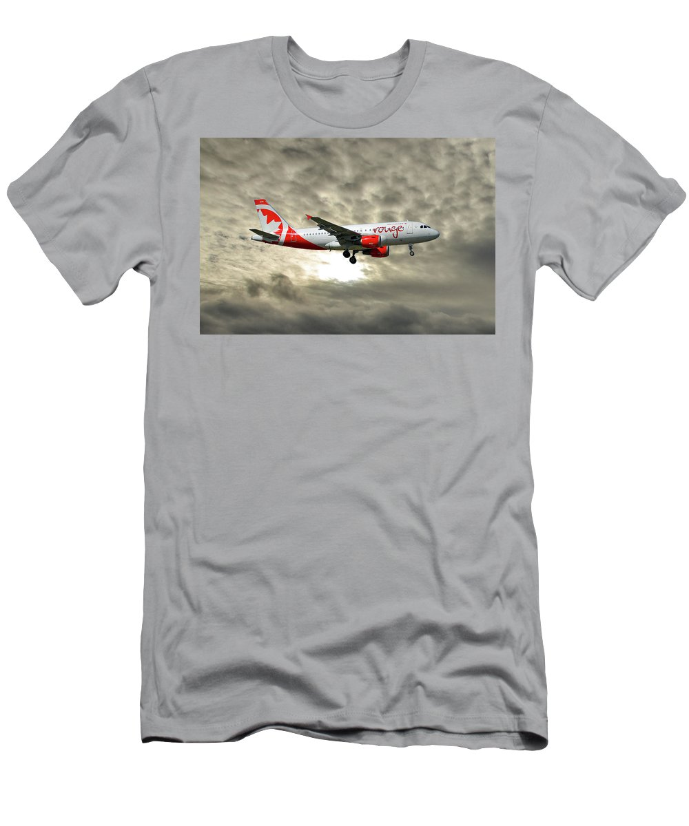 Air Canada Men's T-Shirt (Athletic Fit) featuring the photograph Air Canada Rouge Airbus A319-114 by Smart Aviation