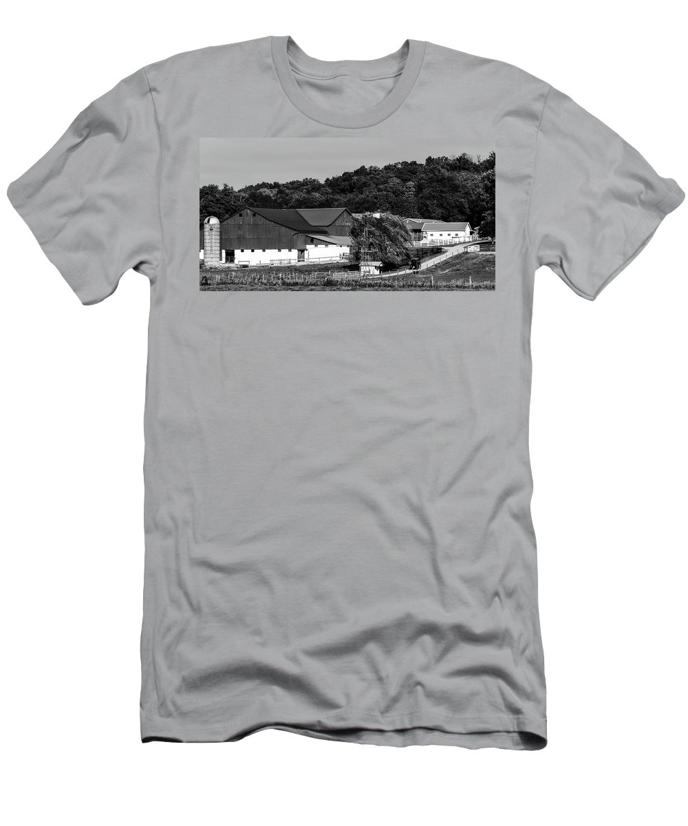 Panorama Men's T-Shirt (Athletic Fit) featuring the photograph Amish Country by Mountain Dreams