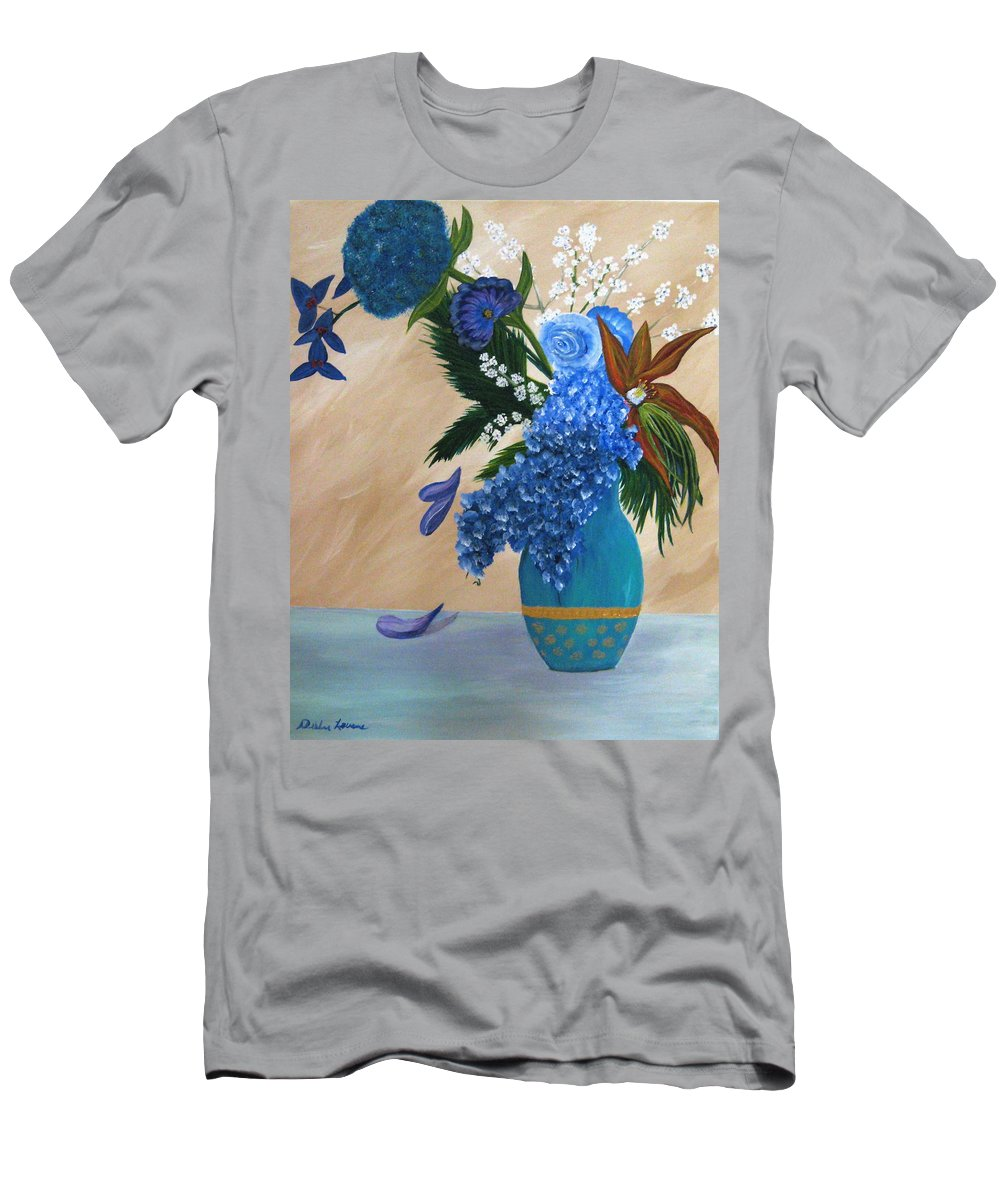 Flowers Men's T-Shirt (Athletic Fit) featuring the painting Blue Passion by Debbie Levene