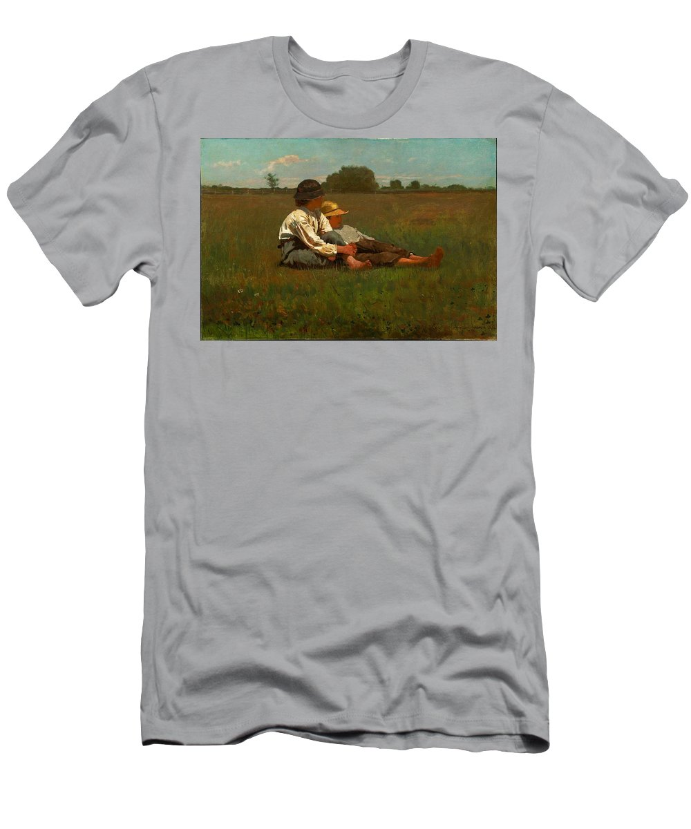 Winslow Homer - Boys In A Pasture Men's T-Shirt (Athletic Fit) featuring the painting Boys In A Pasture by MotionAge Designs
