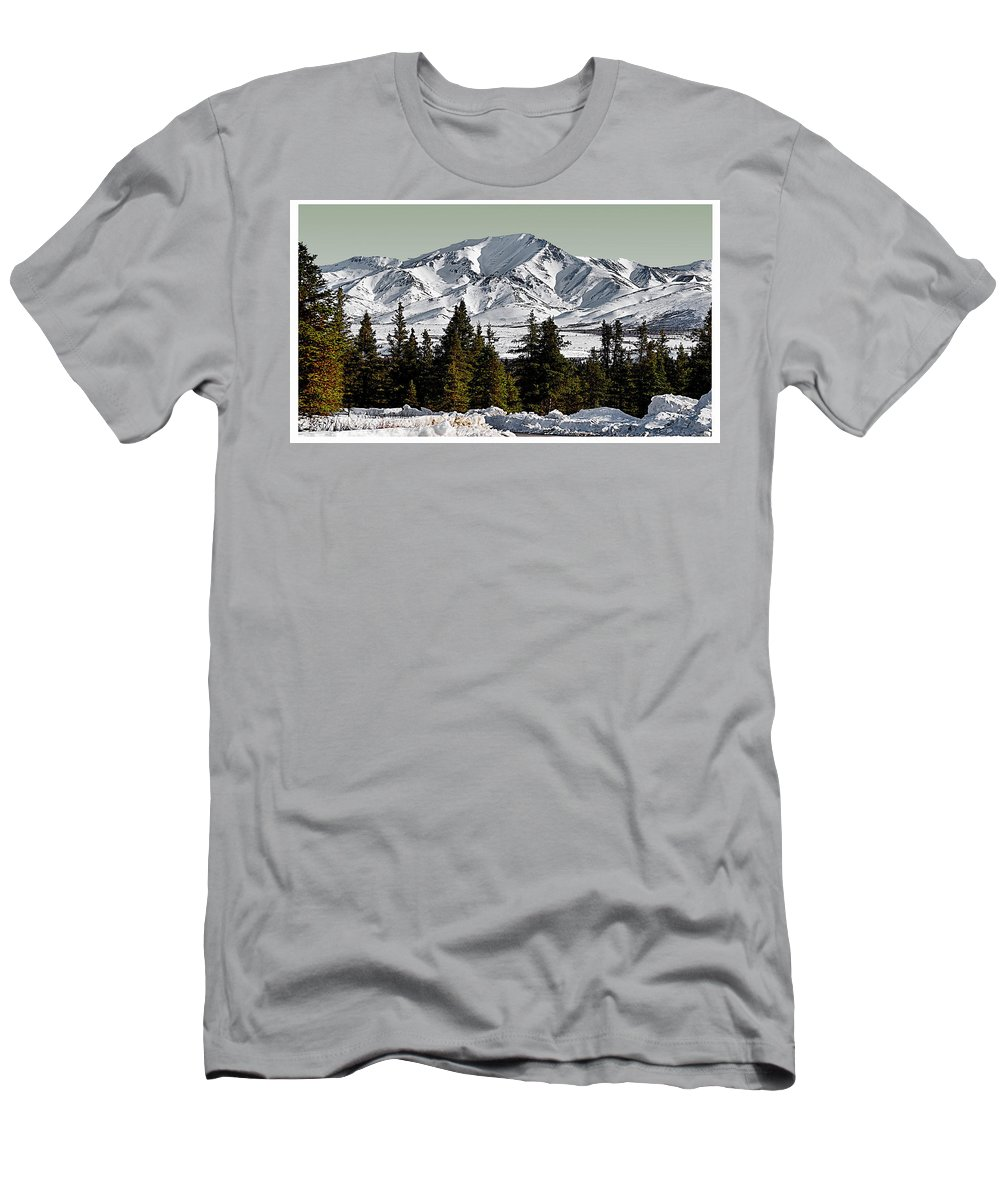 Denali Park Alaska Snow Montain Blue Sky Men's T-Shirt (Athletic Fit) featuring the photograph Denali Park - Alaska by Galeria Trompiz