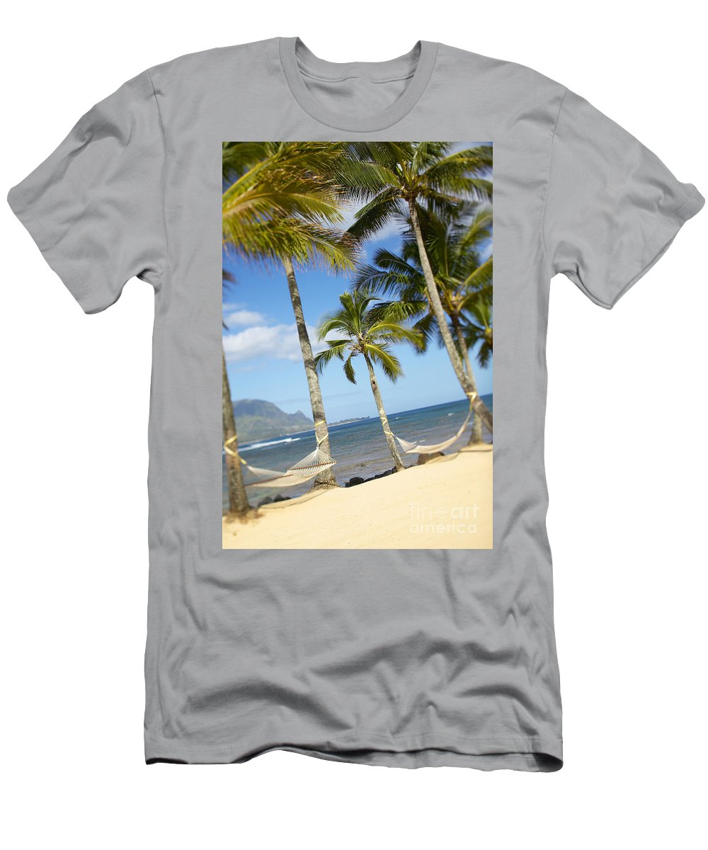 Angle Men's T-Shirt (Athletic Fit) featuring the photograph Hanalei Bay, Hammock by Kyle Rothenborg - Printscapes