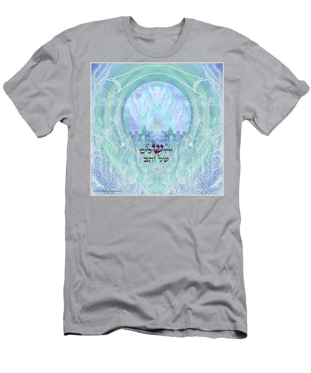 Mandala Men's T-Shirt (Athletic Fit) featuring the digital art Jerusalem Of Gold by Sandrine Kespi