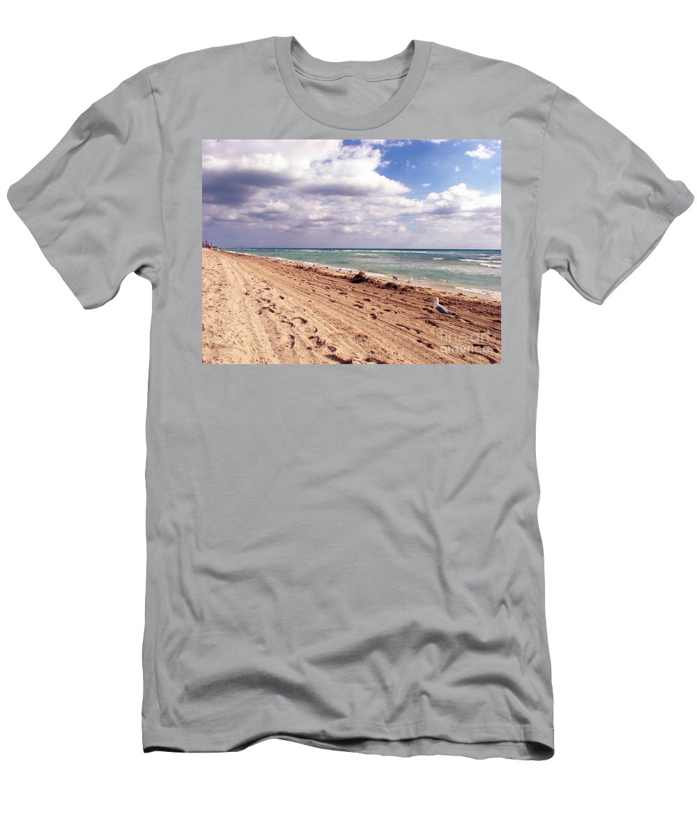 Beaches Men's T-Shirt (Athletic Fit) featuring the photograph Miami Beach by Amanda Barcon