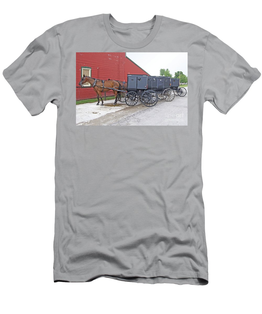 Amish Men's T-Shirt (Athletic Fit) featuring the photograph Amish Parking Lot by Ann Horn