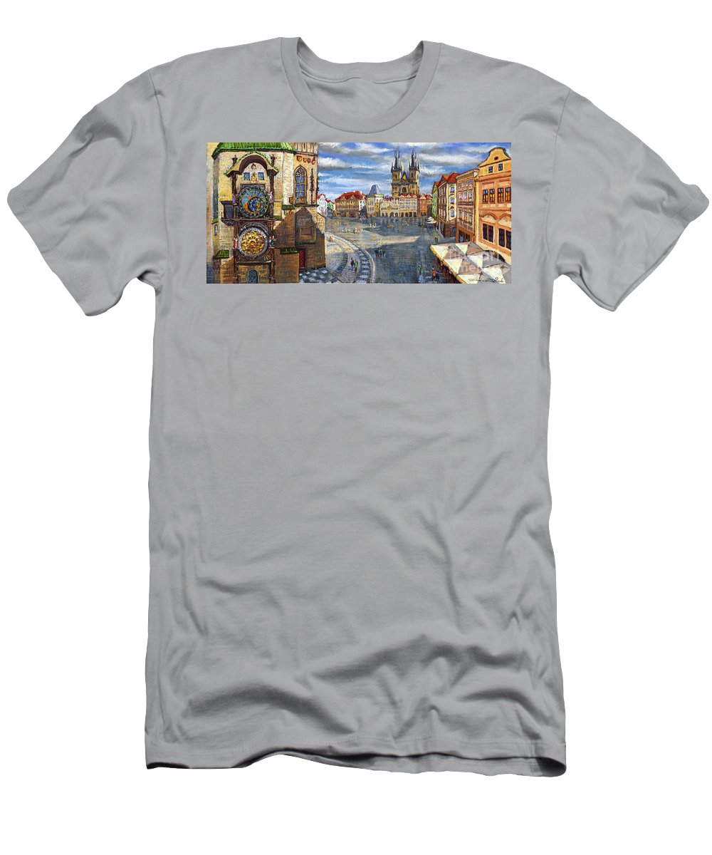 Pastel Men's T-Shirt (Athletic Fit) featuring the painting Prague Old Town Squere by Yuriy Shevchuk