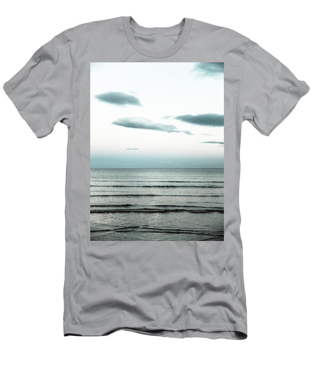 Sea Tide Seascape Night Moonlight Clouds Men's T-Shirt (Athletic Fit) featuring the photograph Seascape by Patrick Lennon