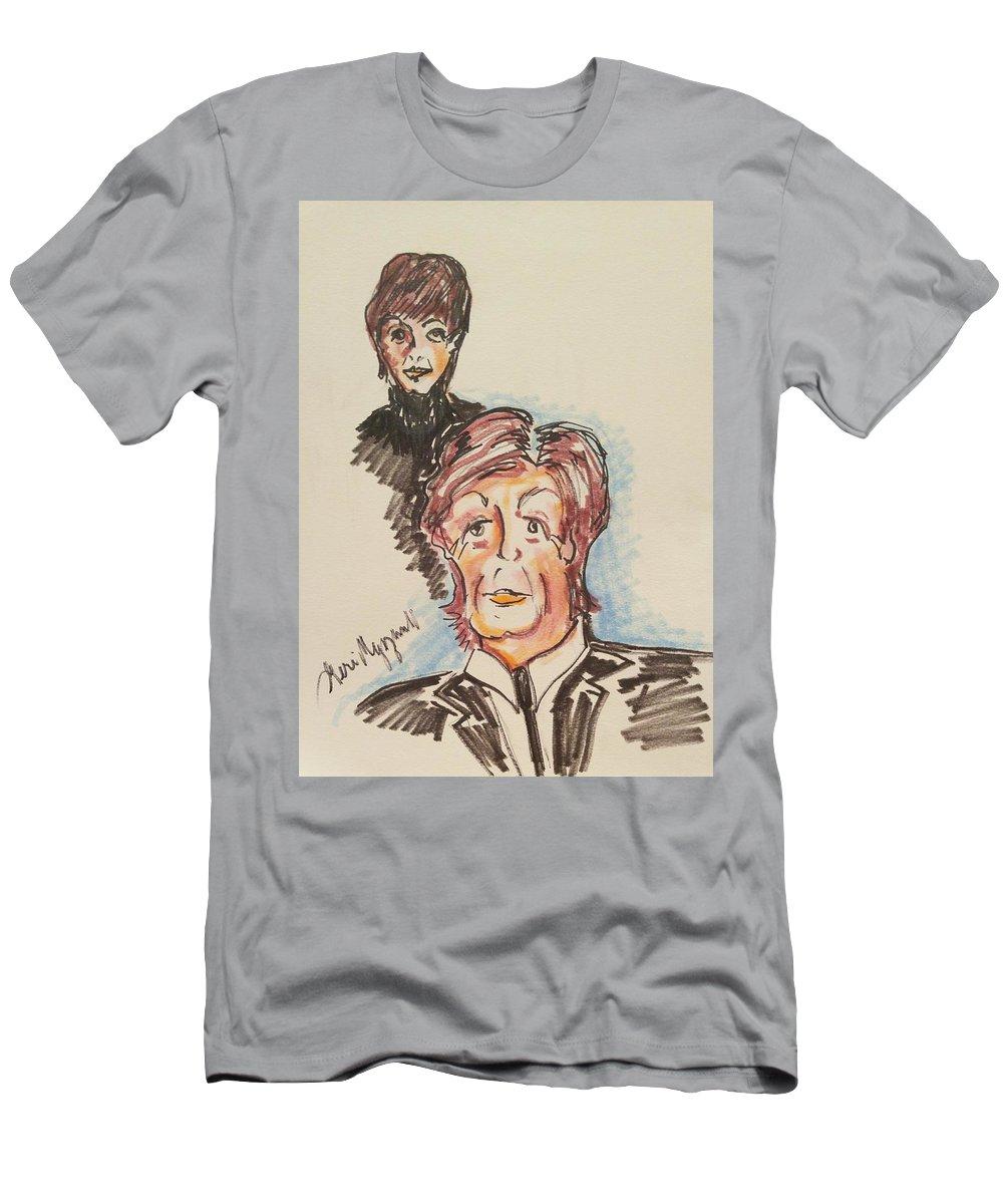 Paul Mccartney Men's T-Shirt (Athletic Fit) featuring the painting Sir Paul Mccartney by Geraldine Myszenski
