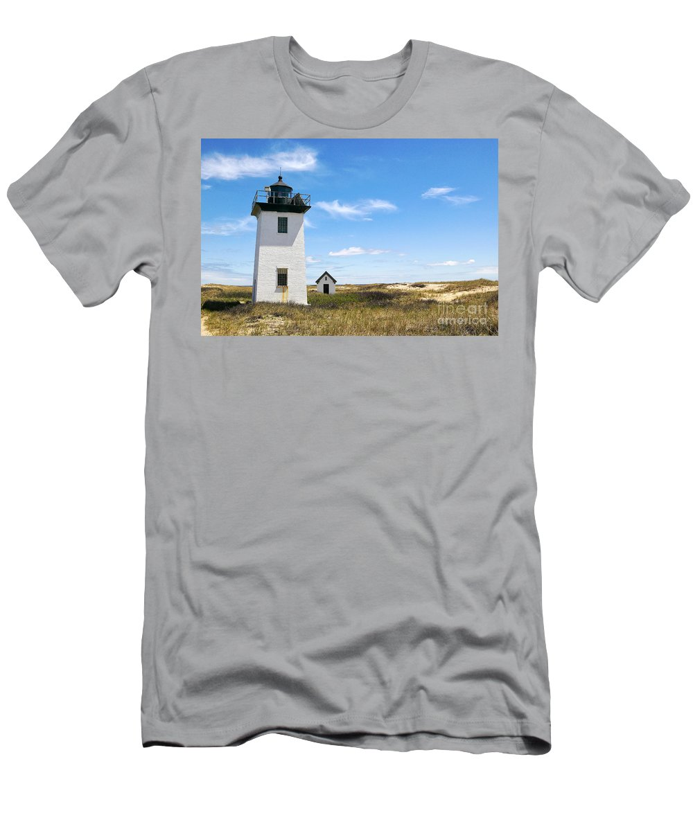 Lighthouses Men's T-Shirt (Athletic Fit) featuring the photograph Wood End Lighthouse In Provincetown On Cape Cod Massachusetts by Matt Suess