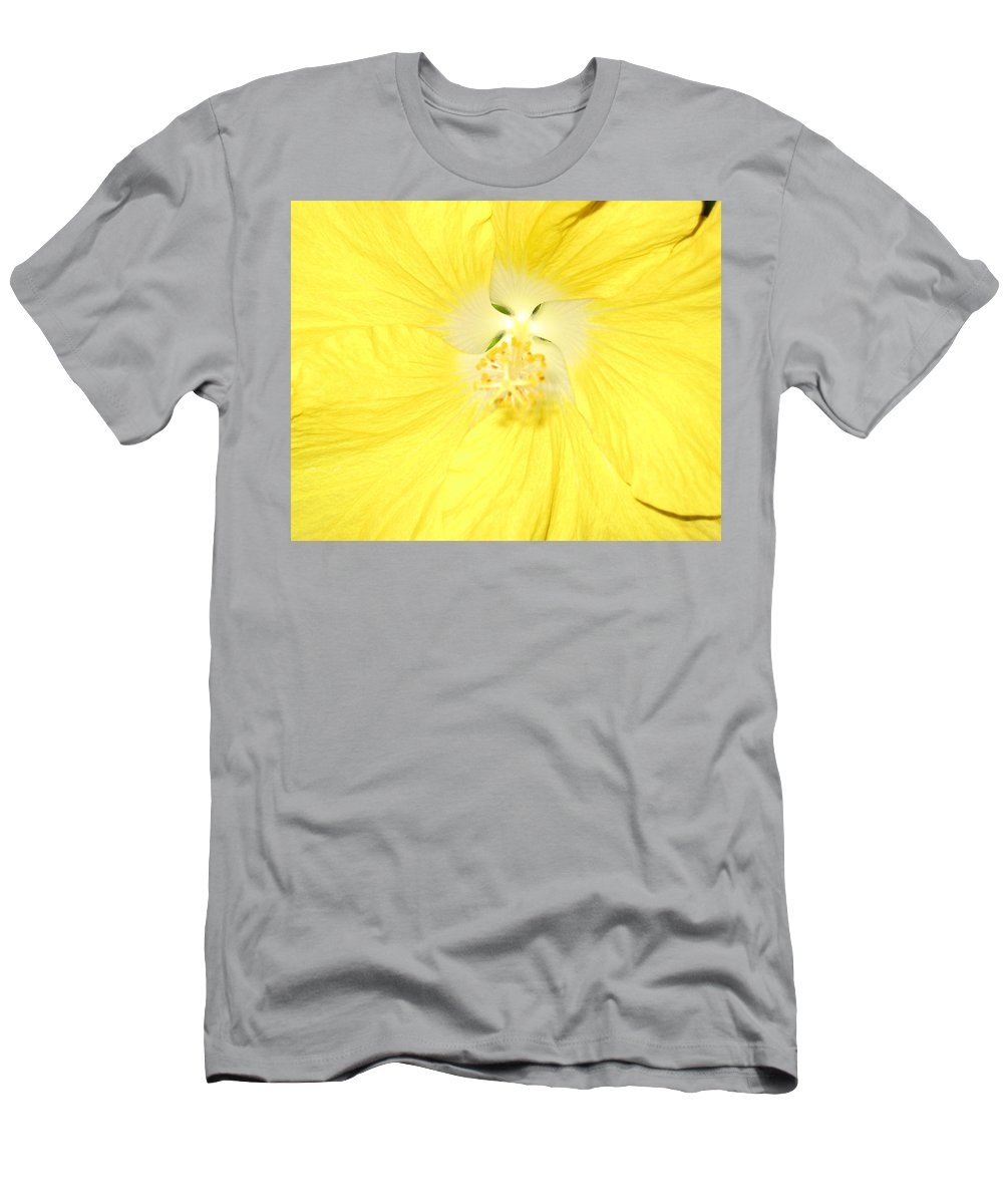 Flower Men's T-Shirt (Athletic Fit) featuring the photograph Yellow Hibiscus by Debbie Levene