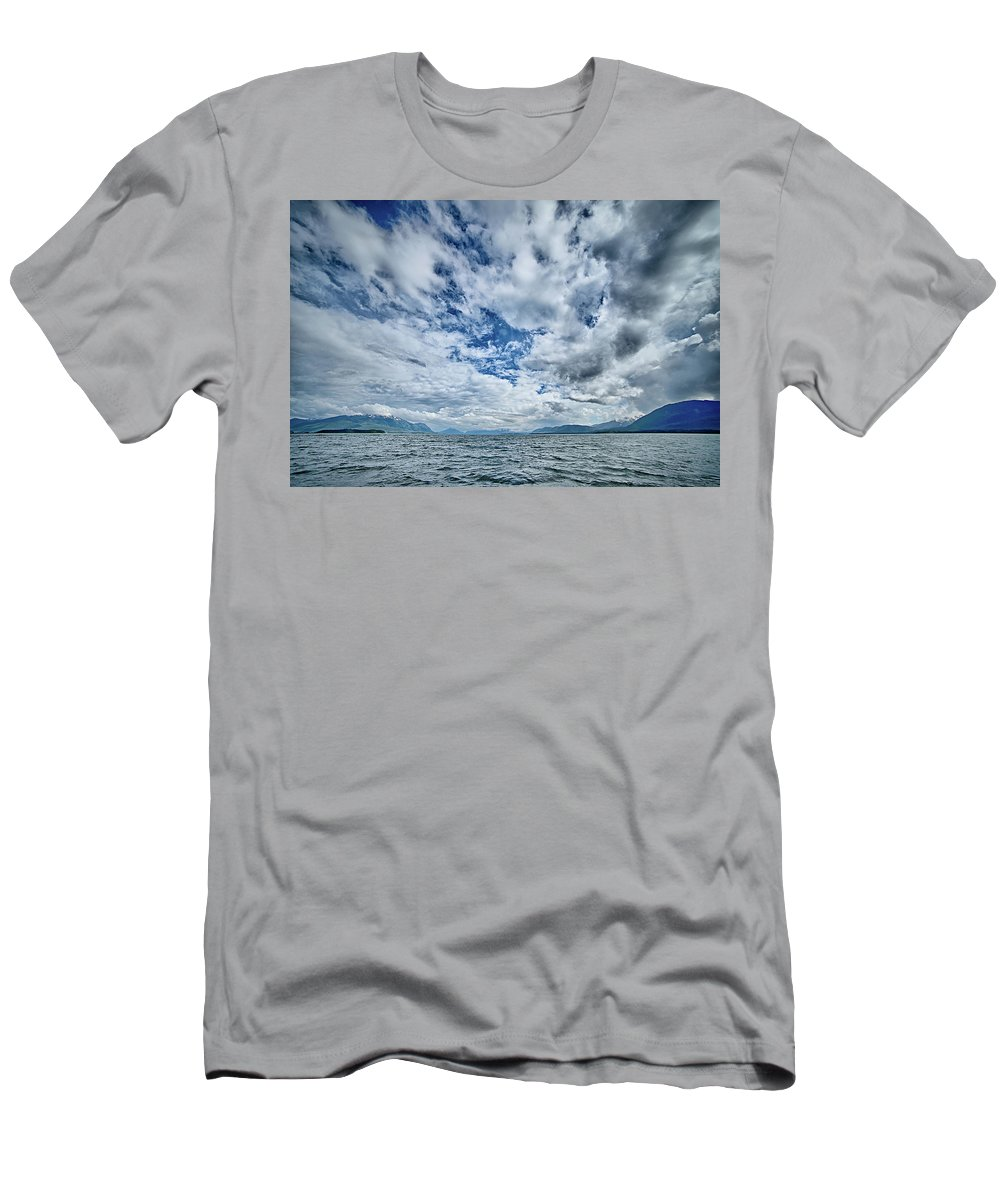 Wildlife Men's T-Shirt (Athletic Fit) featuring the photograph Alaska Waterscape And Mountains Near Favorite Channel And Junea by Alex Grichenko