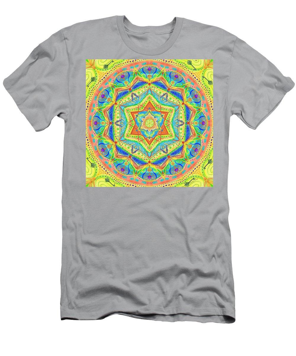 Birth Men's T-Shirt (Athletic Fit) featuring the digital art Birth Mandala- Blessing Symbols by Sandrine Kespi