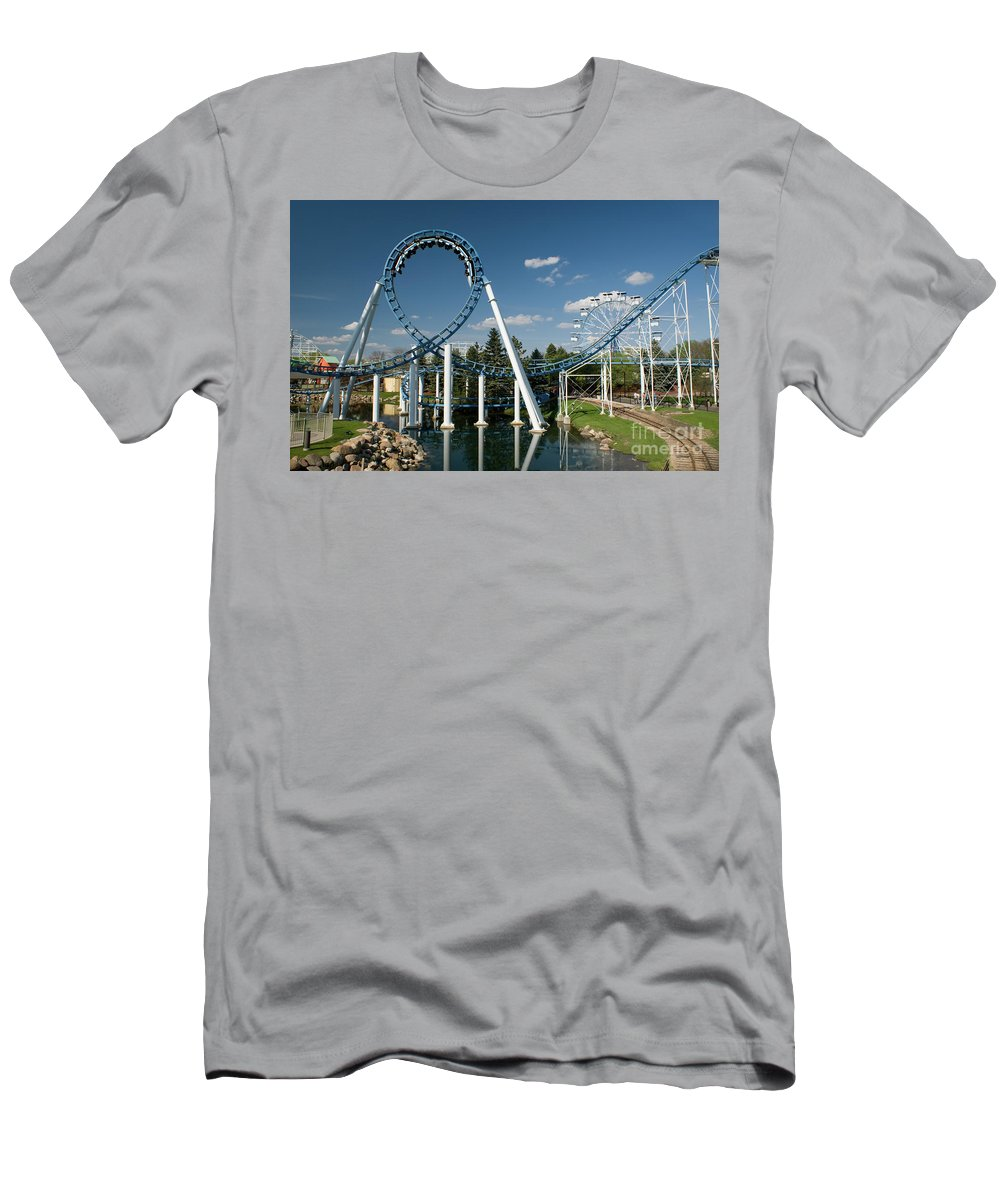 Cork-screw Rollercoaster Men's T-Shirt (Athletic Fit) featuring the photograph Cork-screw Rollercoaster And Ferris-wheel by Anthony Totah