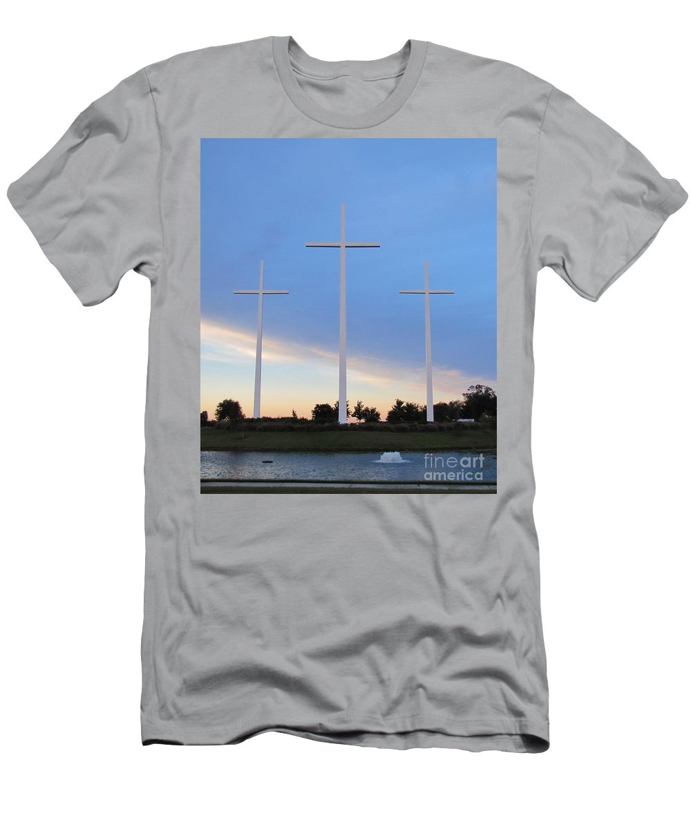 Crosses Men's T-Shirt (Athletic Fit) featuring the photograph 3 Cross Sunset by Michelle Powell