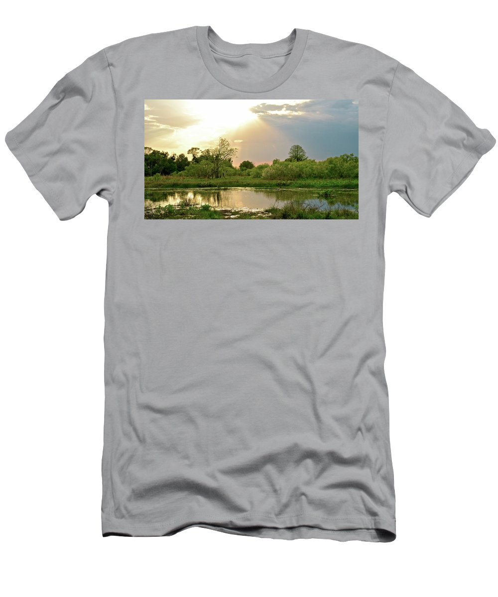 Marsh Men's T-Shirt (Athletic Fit) featuring the photograph Evening Shadows by Carol Bradley
