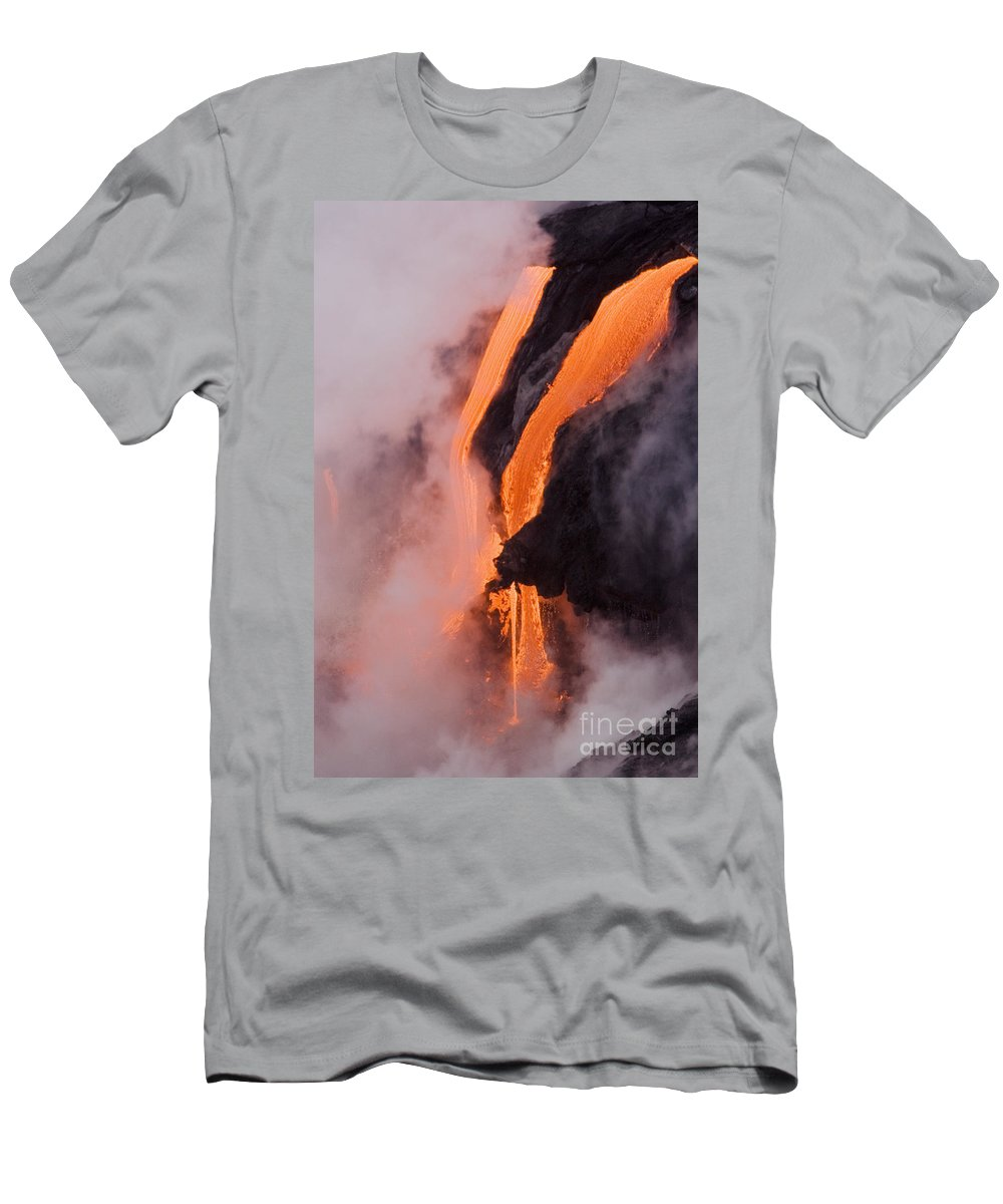 Active Men's T-Shirt (Athletic Fit) featuring the photograph Flowing Pahoehoe Lava by Ron Dahlquist - Printscapes