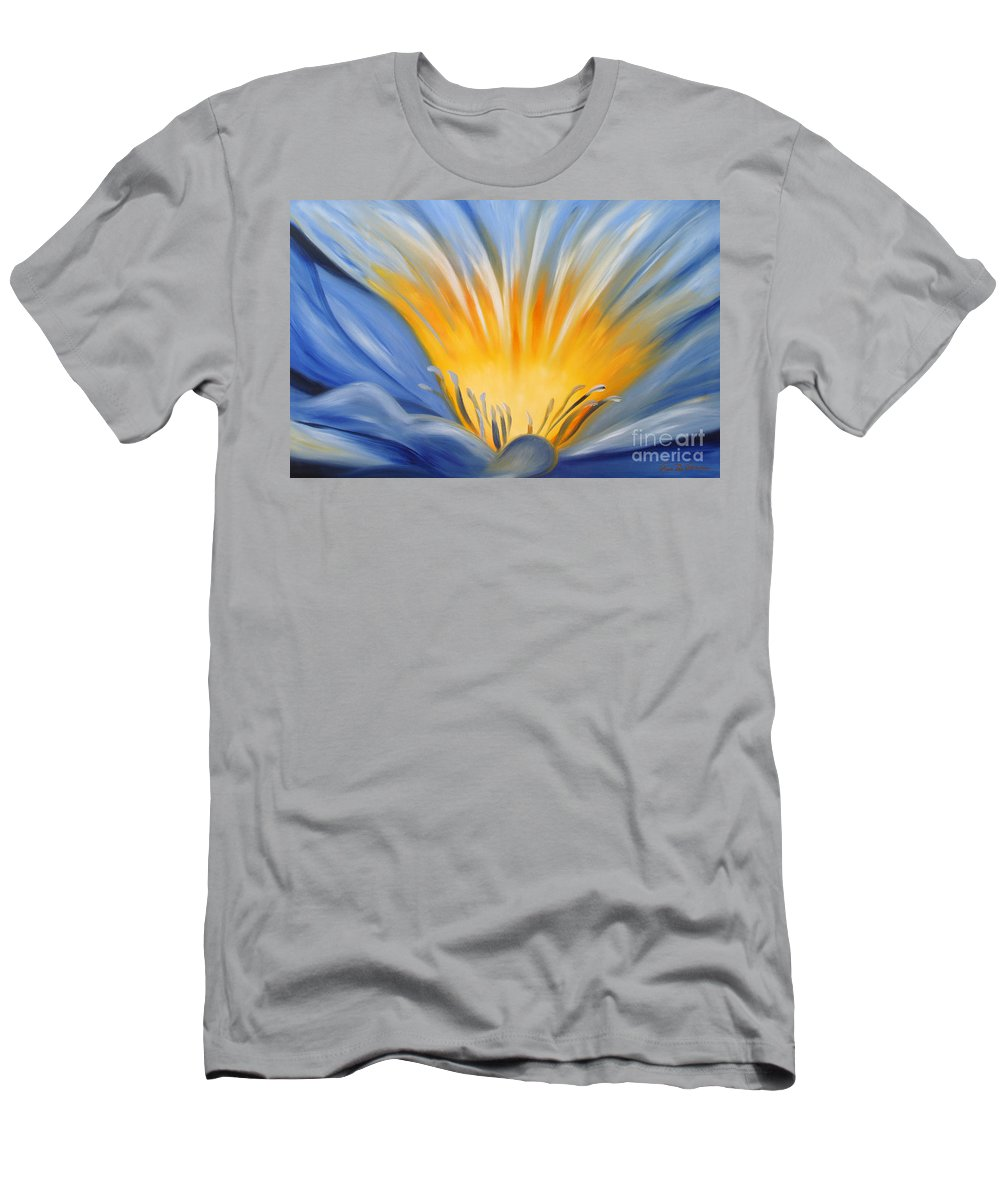 Flowers T-Shirt featuring the painting From the Heart of a Flower BLUE by Gina De Gorna