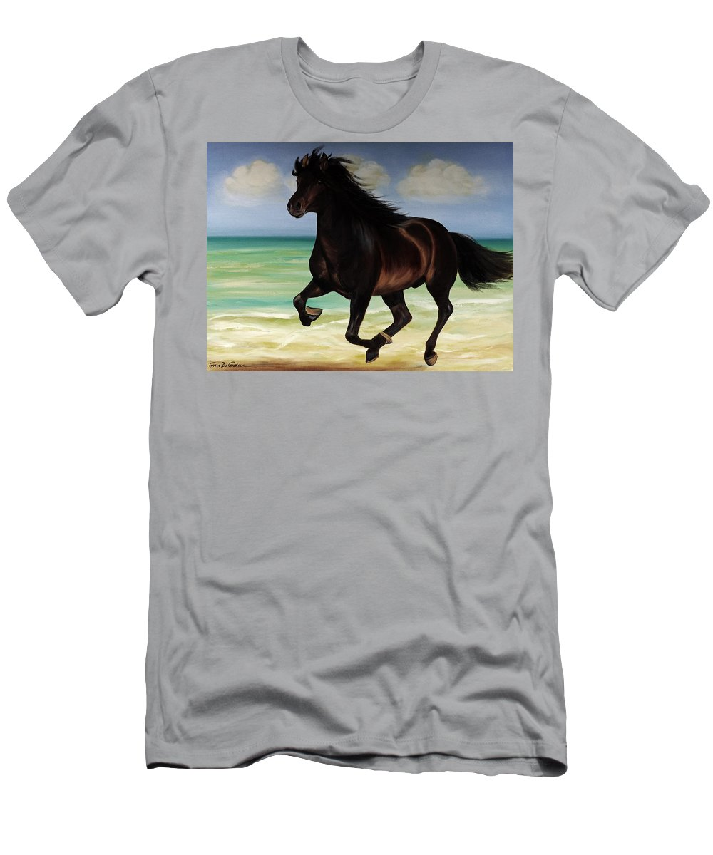 Horse Men's T-Shirt (Athletic Fit) featuring the painting Horses In Paradise Run by Gina De Gorna