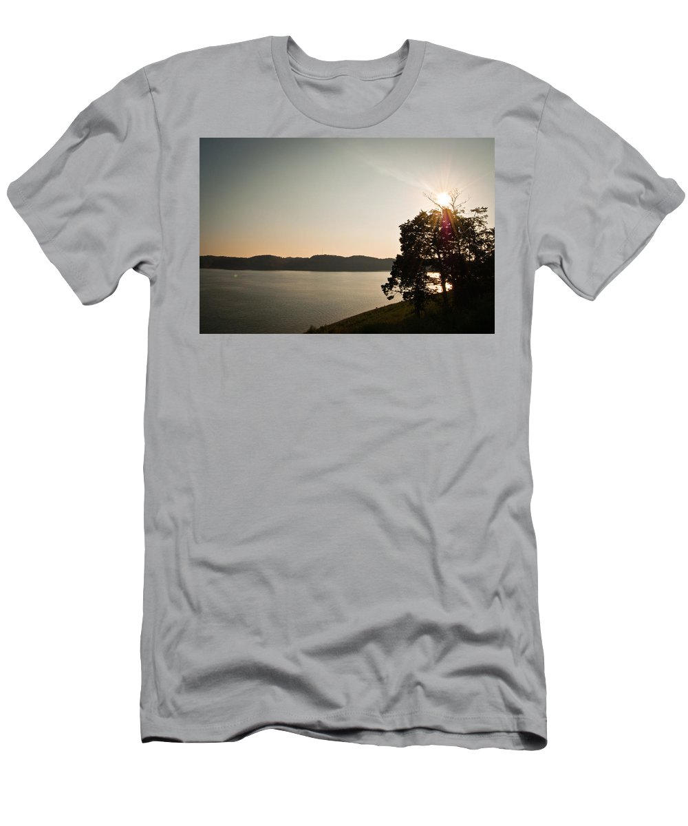 Lake Men's T-Shirt (Athletic Fit) featuring the photograph Lake Cumberland Sunset by Amber Flowers