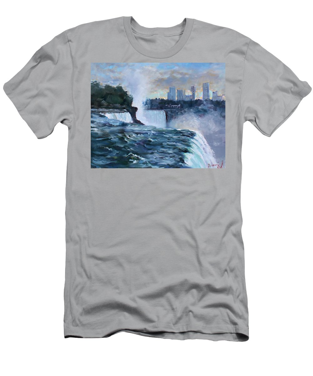 Waterfalls Men's T-Shirt (Athletic Fit) featuring the painting Niagara Falls by Ylli Haruni