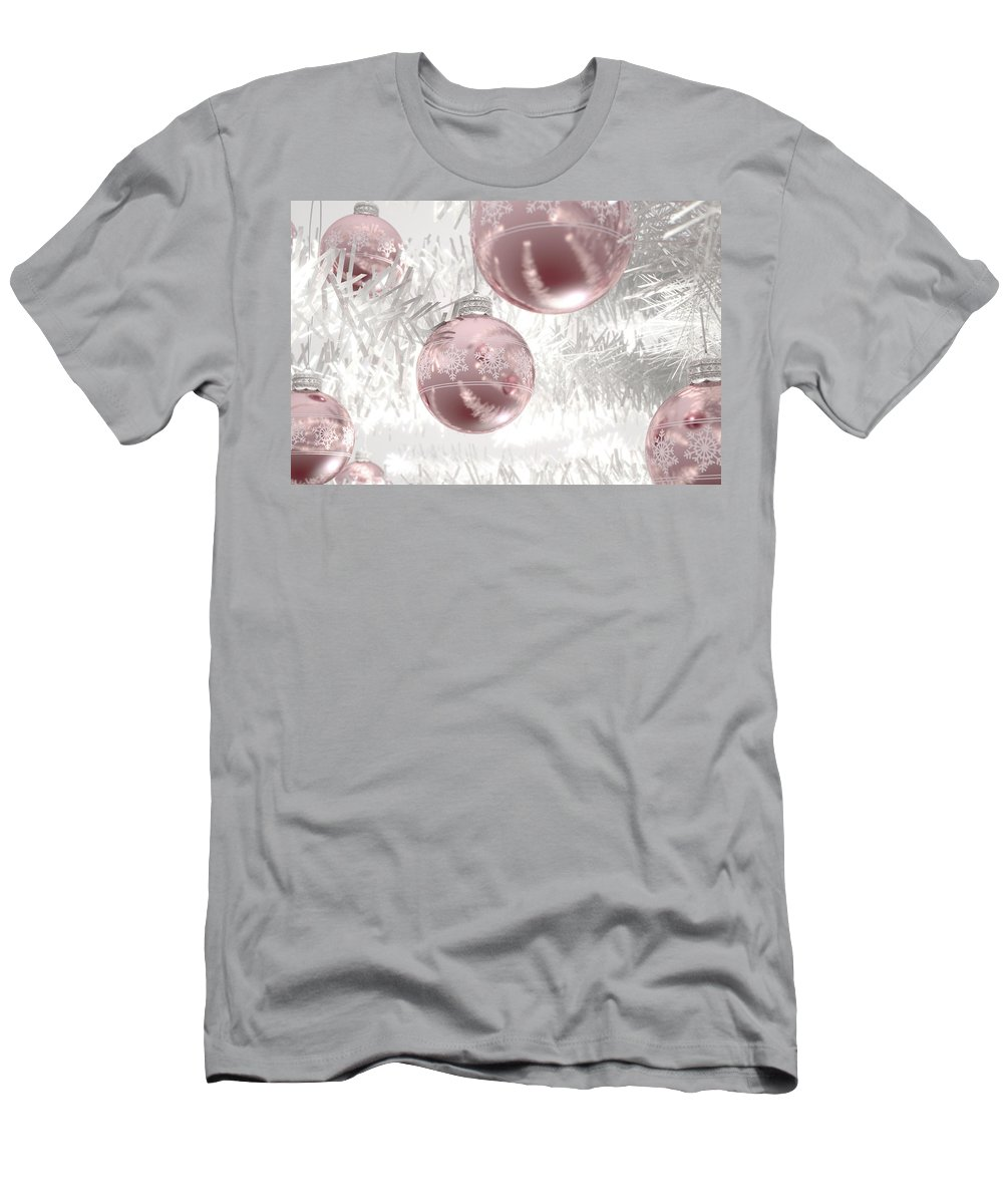Bauble Men's T-Shirt (Athletic Fit) featuring the digital art Rose Gold Christmas Baubels by Allan Swart