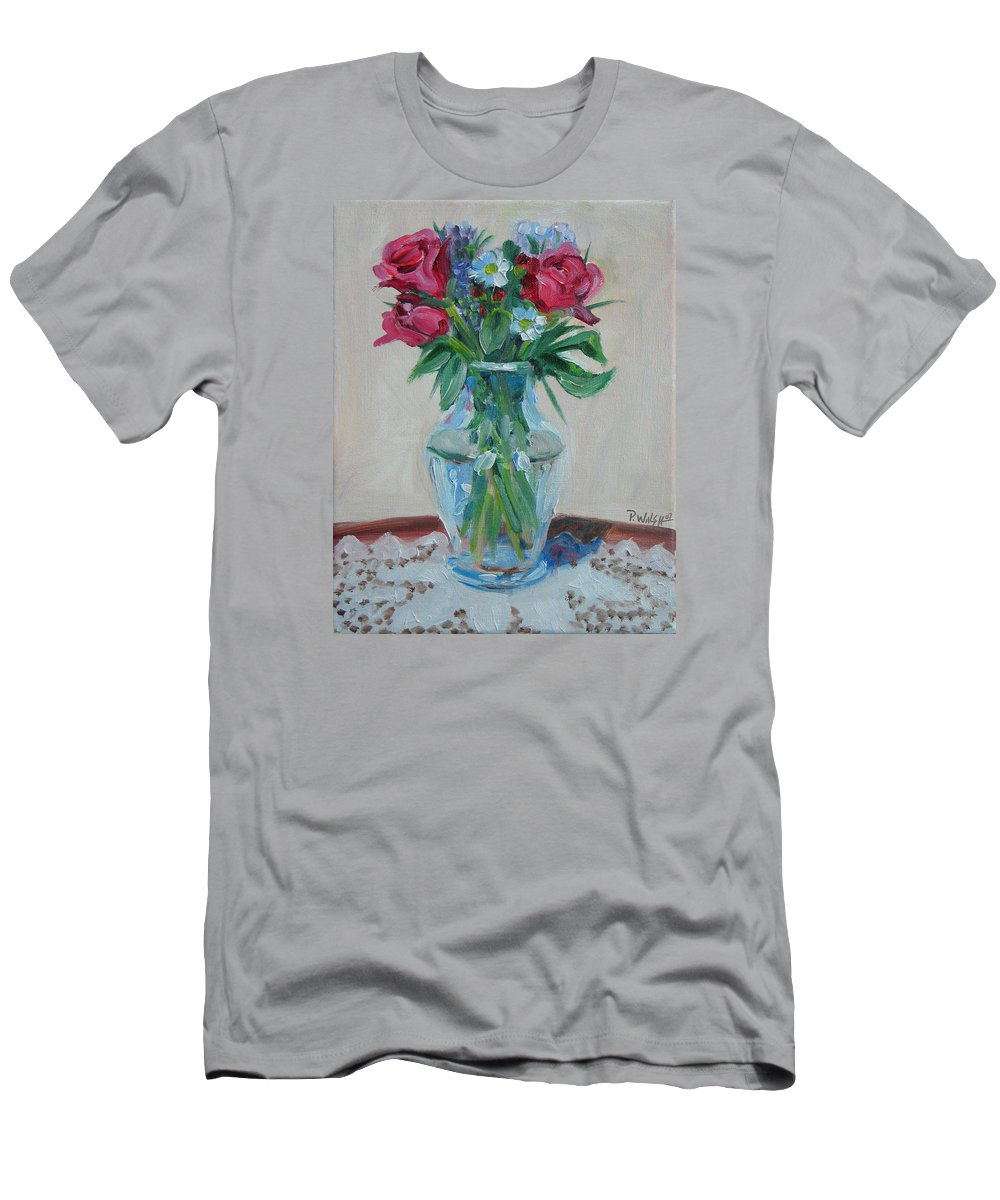 Roses Men's T-Shirt (Athletic Fit) featuring the painting 3 Roses by Paul Walsh