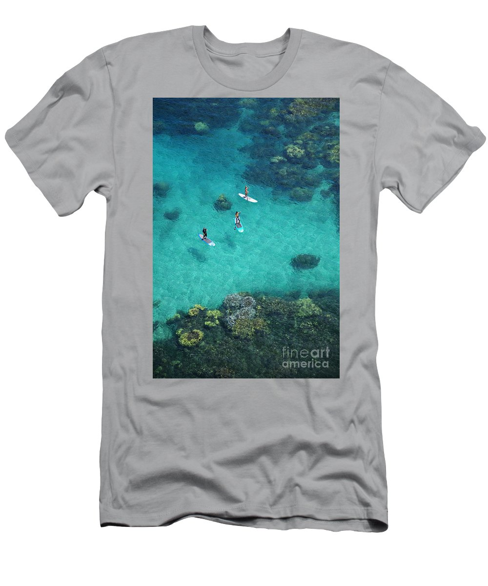 Adrenaline Men's T-Shirt (Athletic Fit) featuring the photograph Stand Up Paddling by Ron Dahlquist - Printscapes
