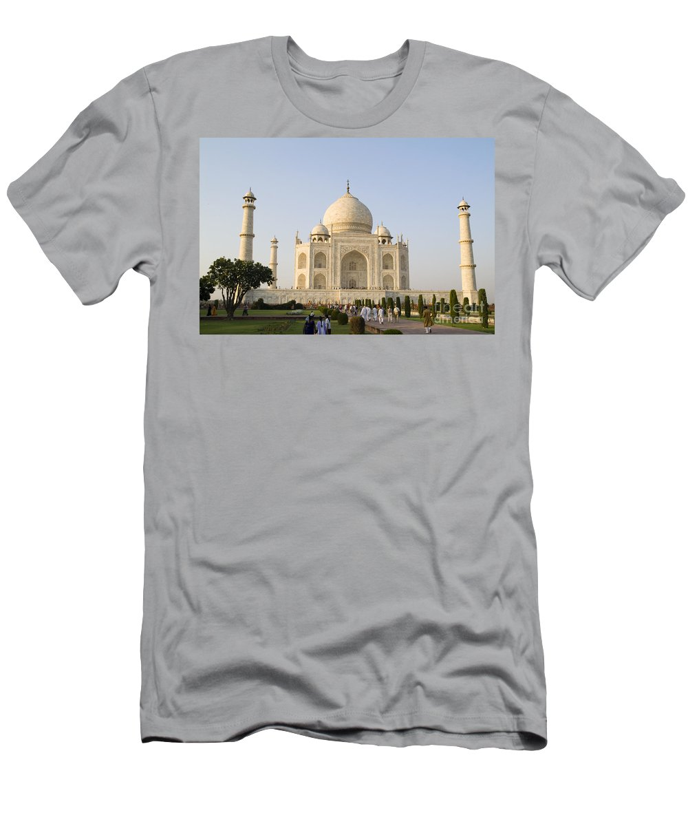 Agra Men's T-Shirt (Athletic Fit) featuring the photograph Taj Mahal by Bill Bachmann - Printscapes